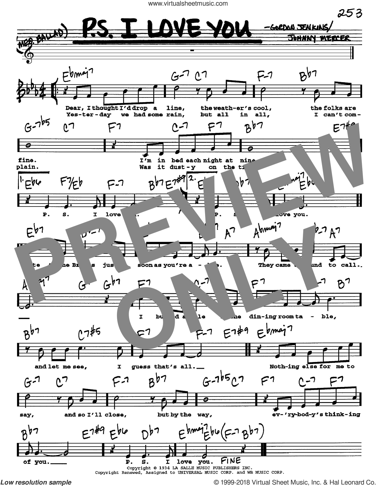 P.S. I Love You sheet music for voice and other instruments (Vocal Volume 1) by Johnny Mercer and Gordon Jenkins. Score Image Preview.
