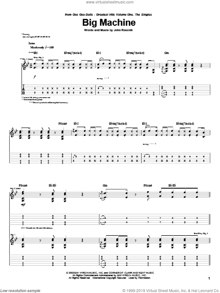 Big Machine sheet music for guitar (tablature) by John Rzeznik. Score Image Preview.