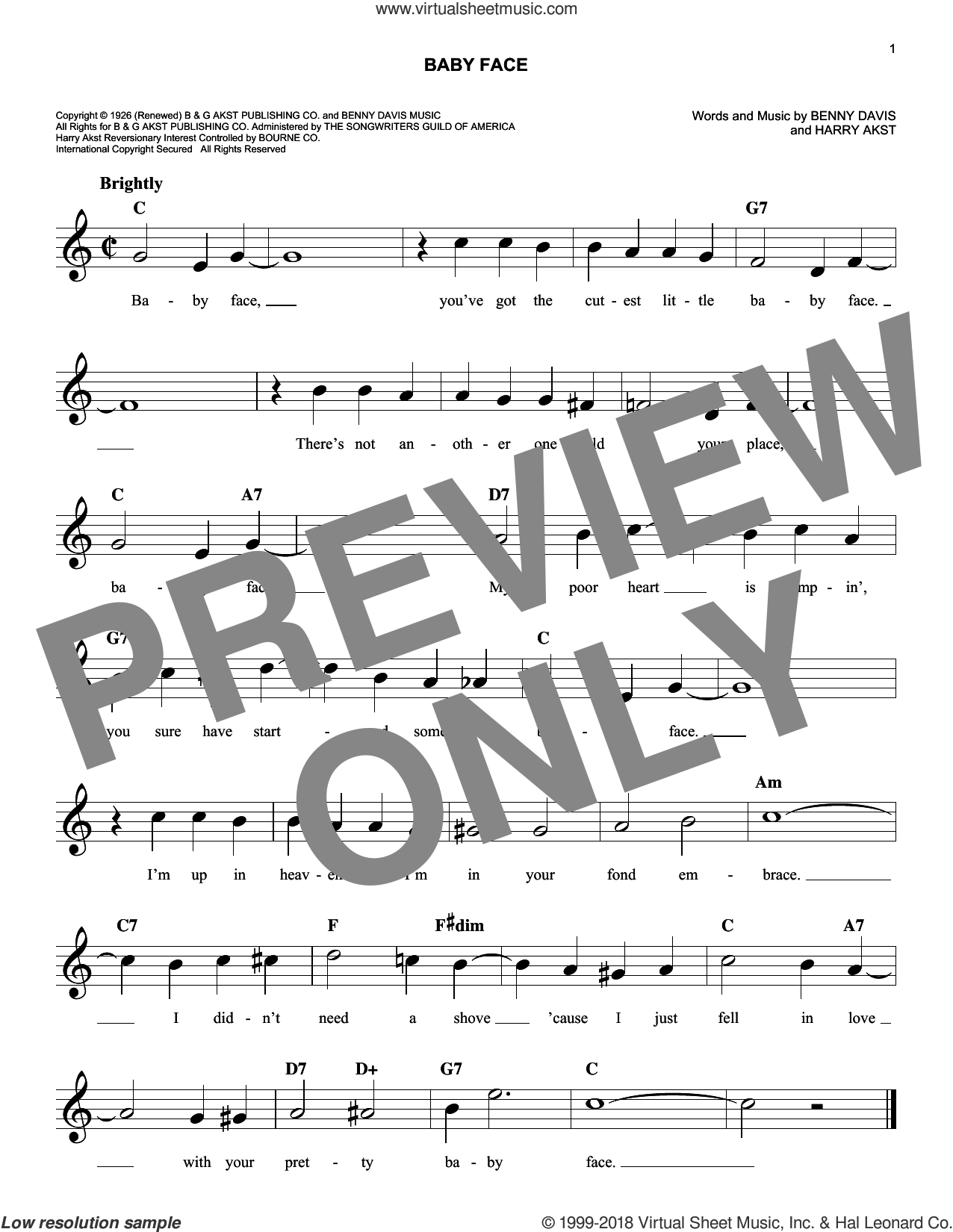 Baby Face sheet music for voice and other instruments (fake book) by Bobby Darin, Benny Davis and Harry Akst, intermediate skill level