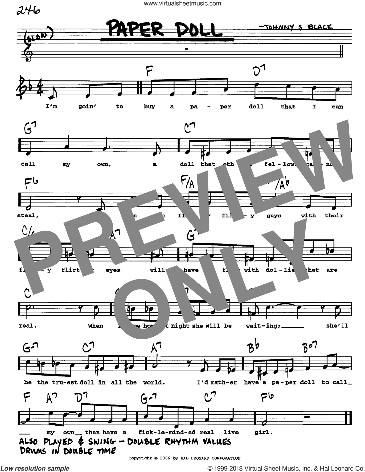 Paper Doll sheet music for voice and other instruments (Vocal Volume 1) by Johnny S. Black. Score Image Preview.