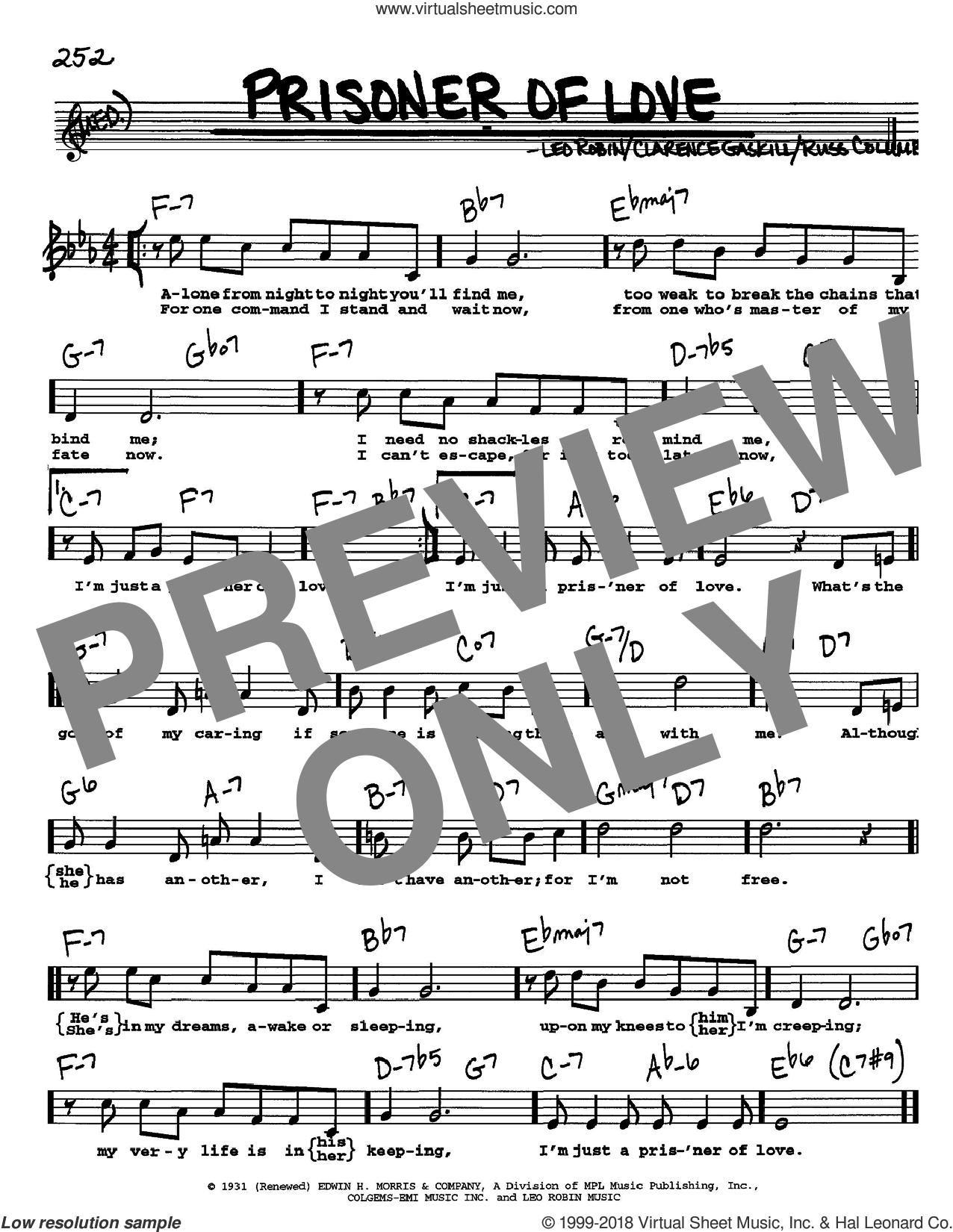Prisoner Of Love sheet music for voice and other instruments (Vocal Volume 1) by Russ Columbo, Clarence Gaskill and Leo Robin. Score Image Preview.