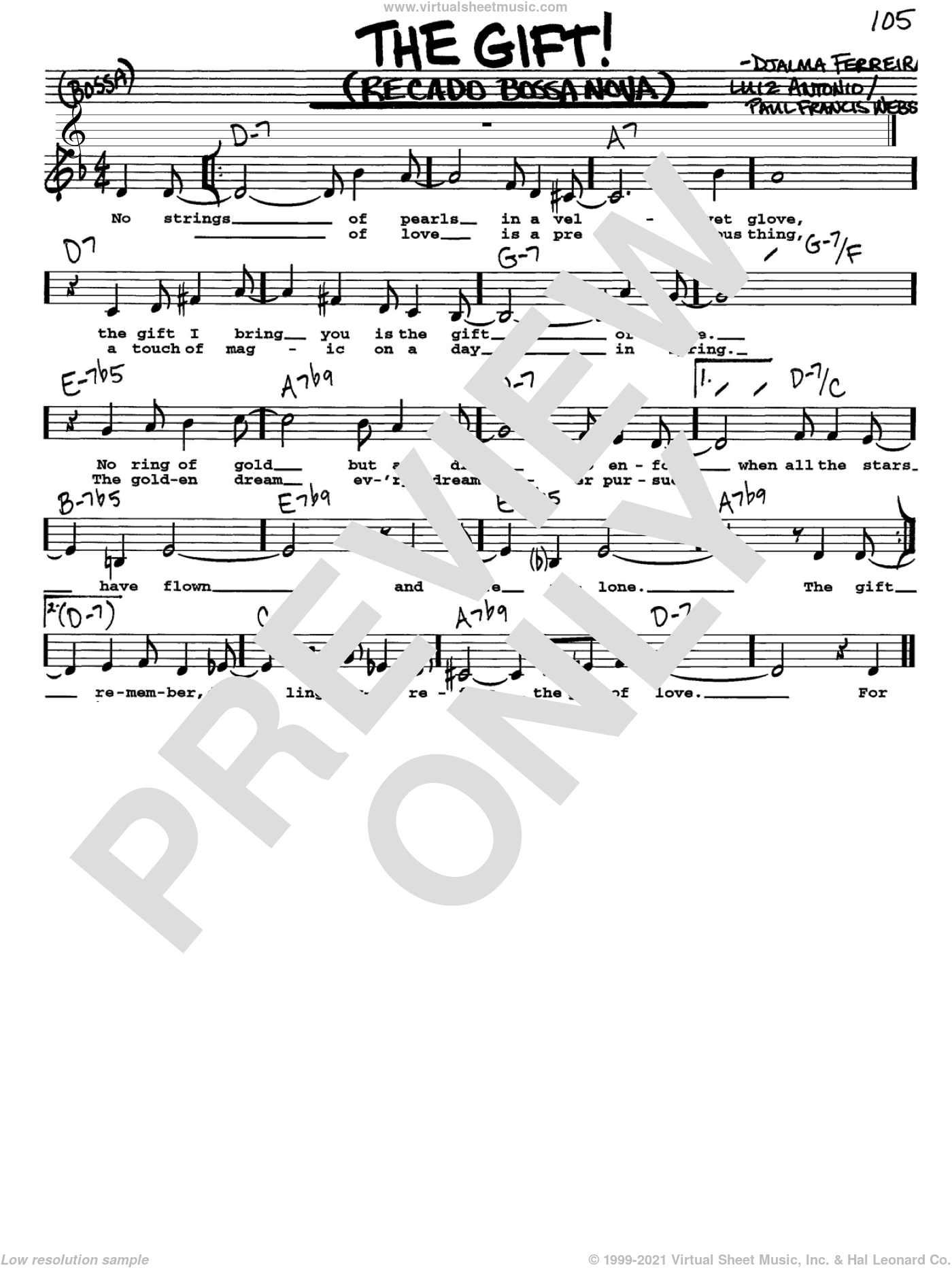 The Gift! (Recado Bossa Nova) sheet music for voice and other instruments  by Luiz Antonio, Djalma Ferreira and Paul Francis Webster, intermediate skill level