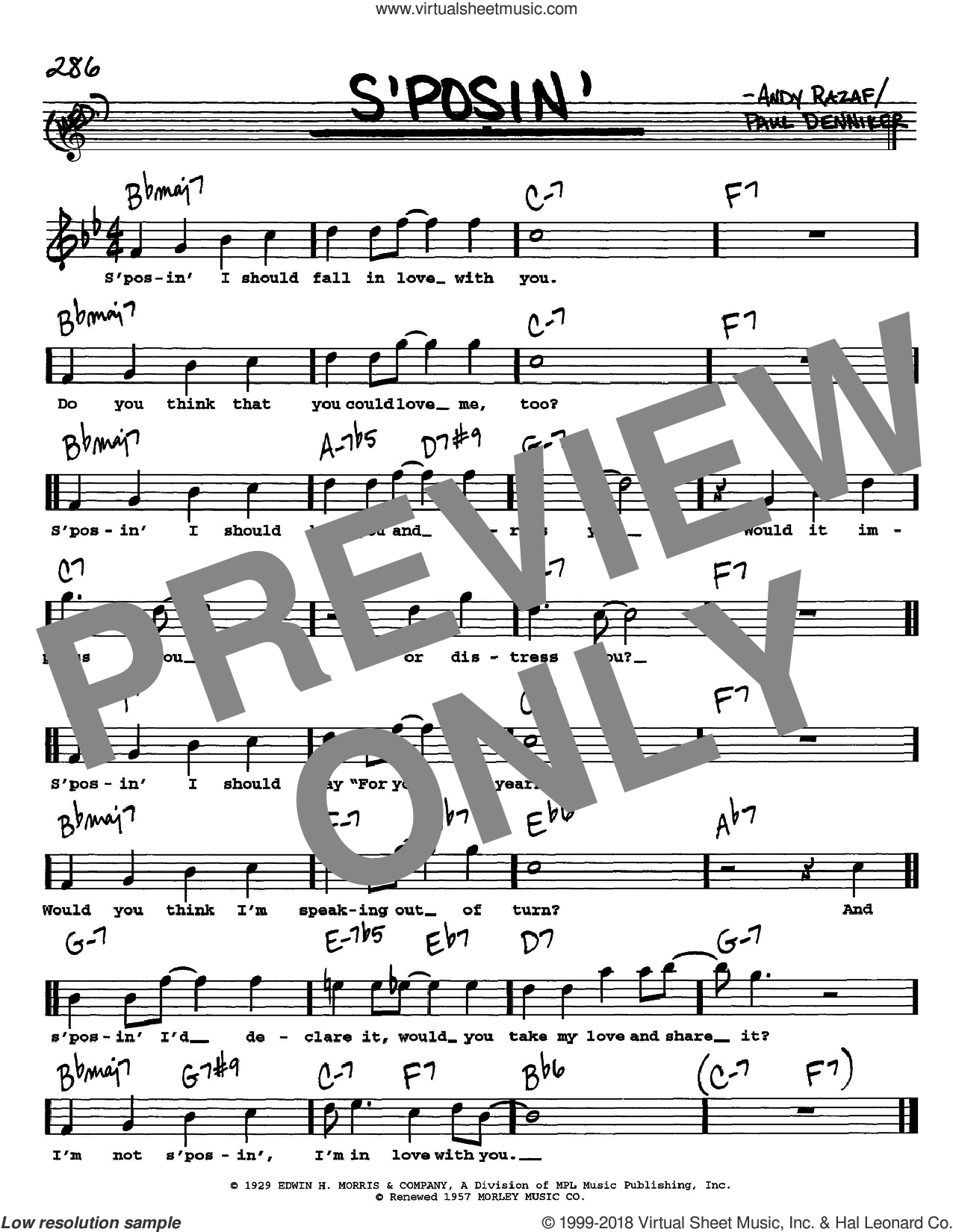 S'posin' sheet music for voice and other instruments  by Frank Sinatra, Andy Razaf and Paul Denniker, intermediate skill level