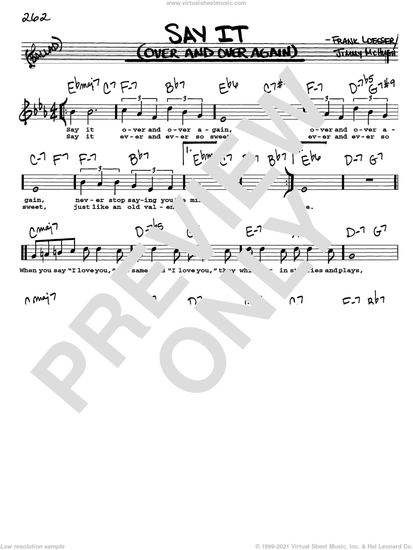 Say It (Over And Over Again) sheet music for voice and other instruments  by Frank Loesser and Jimmy McHugh, intermediate. Score Image Preview.