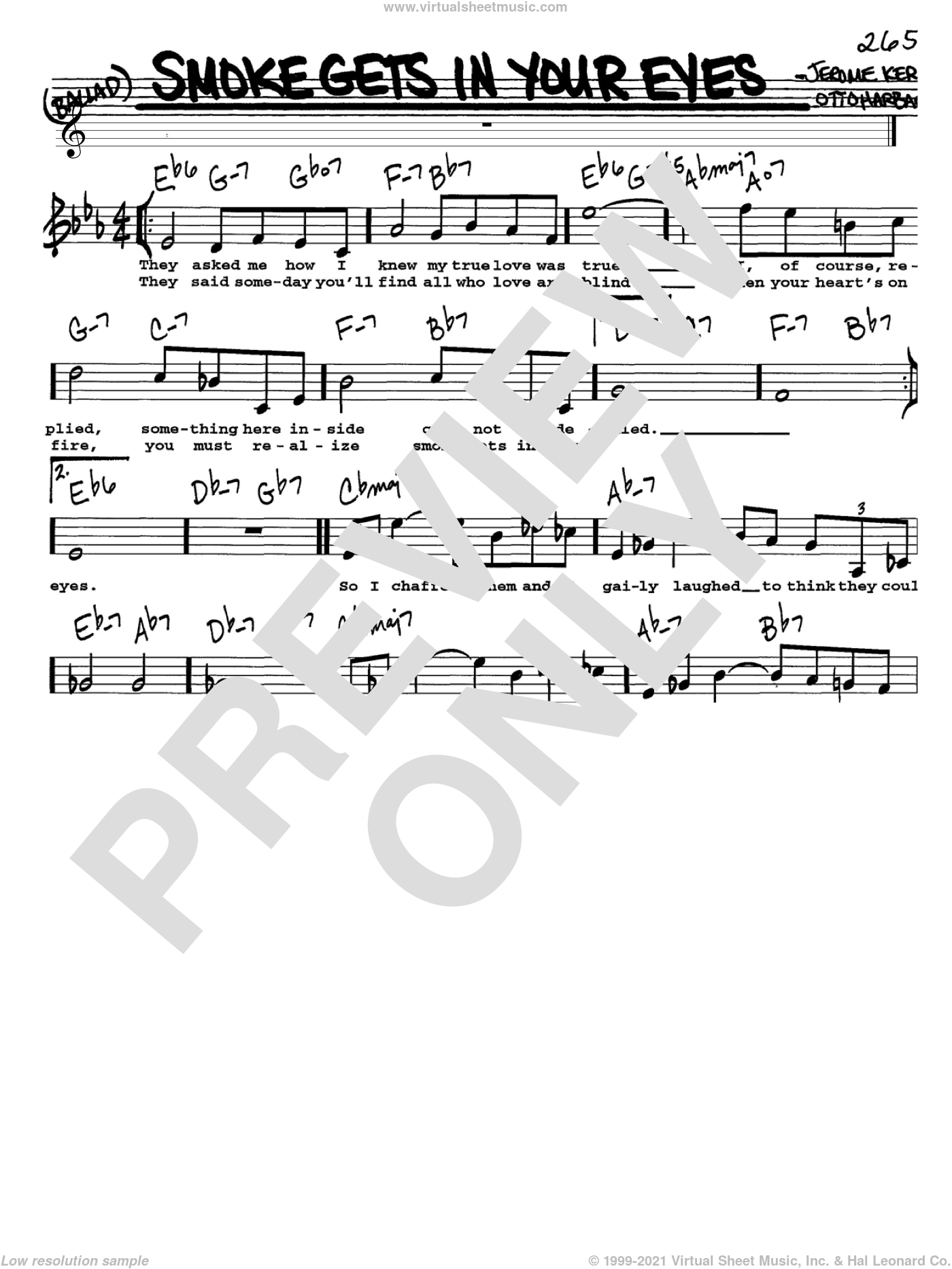 Smoke Gets In Your Eyes sheet music for voice and other instruments (Vocal Volume 1) by Jerome Kern, The Platters and Otto Harbach, intermediate. Score Image Preview.