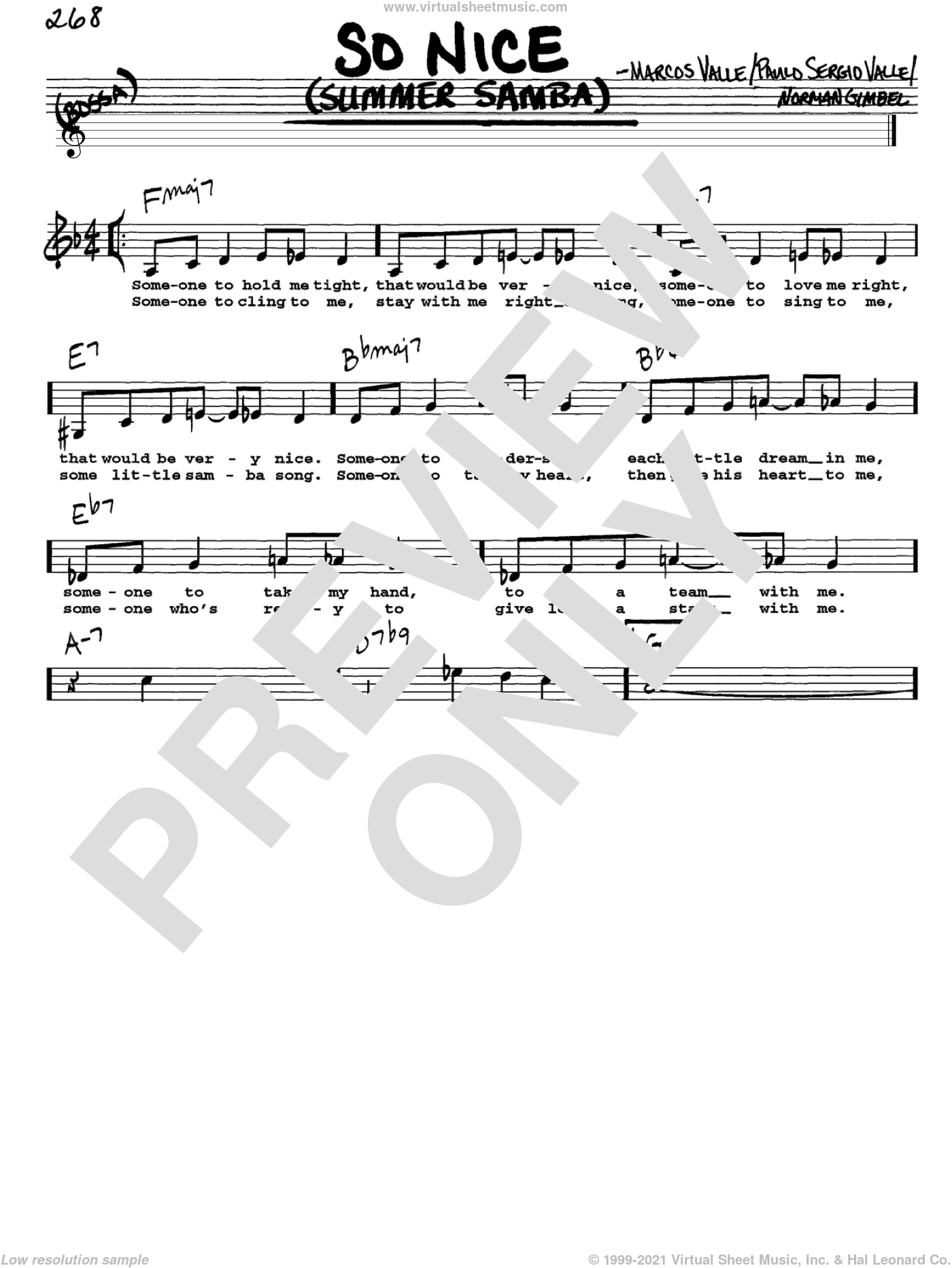So Nice (Summer Samba) sheet music for voice and other instruments (Vocal Volume 1) by Paulo Sergio Valle, Marcos Valle and Norman Gimbel. Score Image Preview.