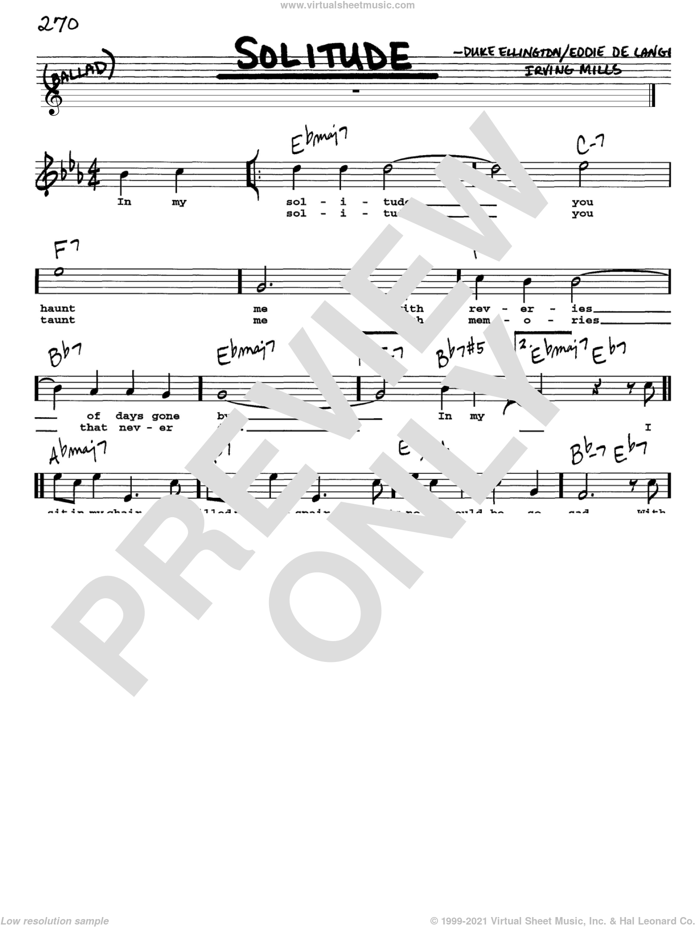 Solitude sheet music for voice and other instruments (Vocal Volume 1) by Duke Ellington, Eddie DeLange and Irving Mills. Score Image Preview.
