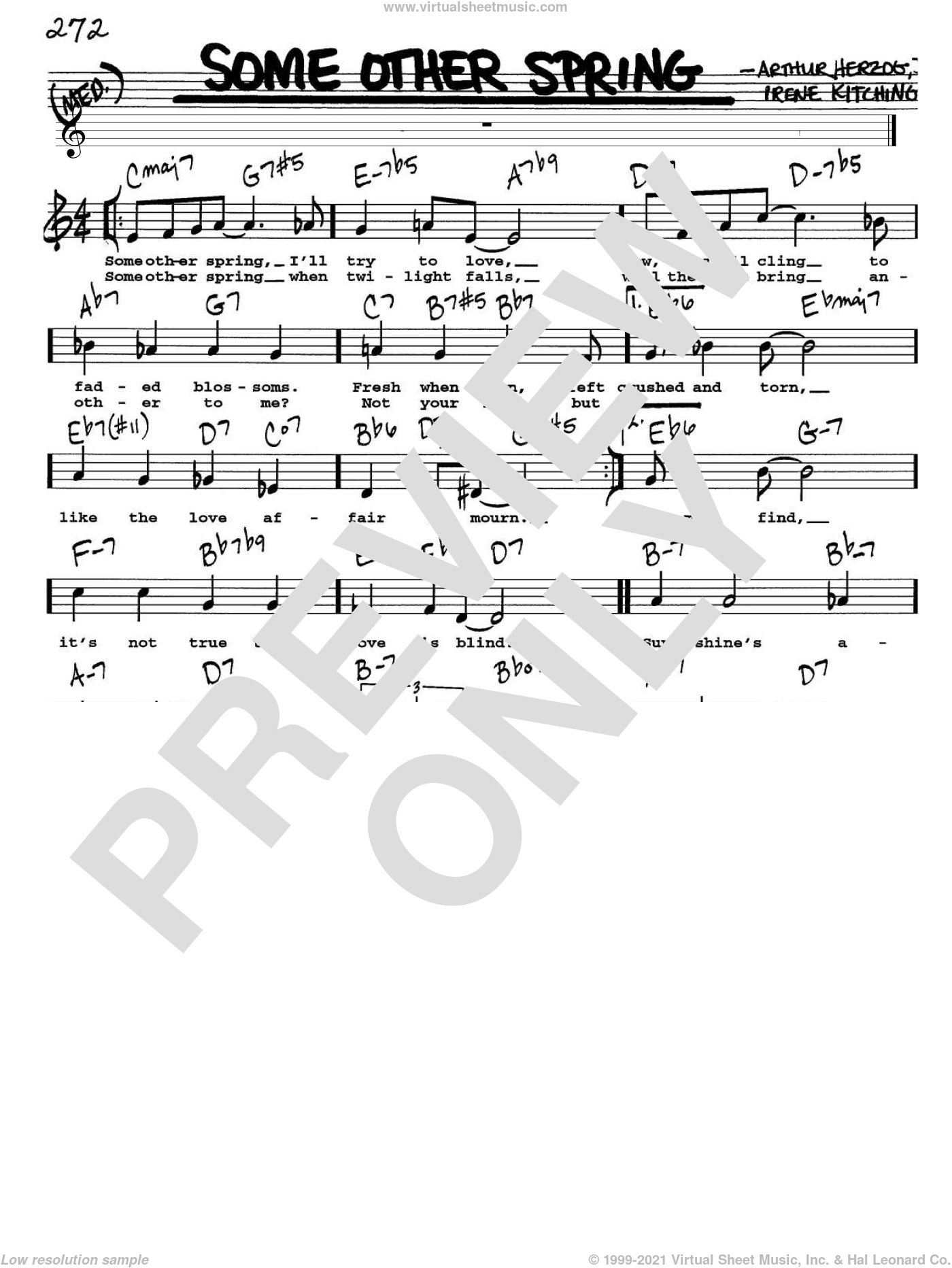 Some Other Spring sheet music for voice and other instruments  by Arthur Herzog Jr. and Irene Kitchings, intermediate. Score Image Preview.