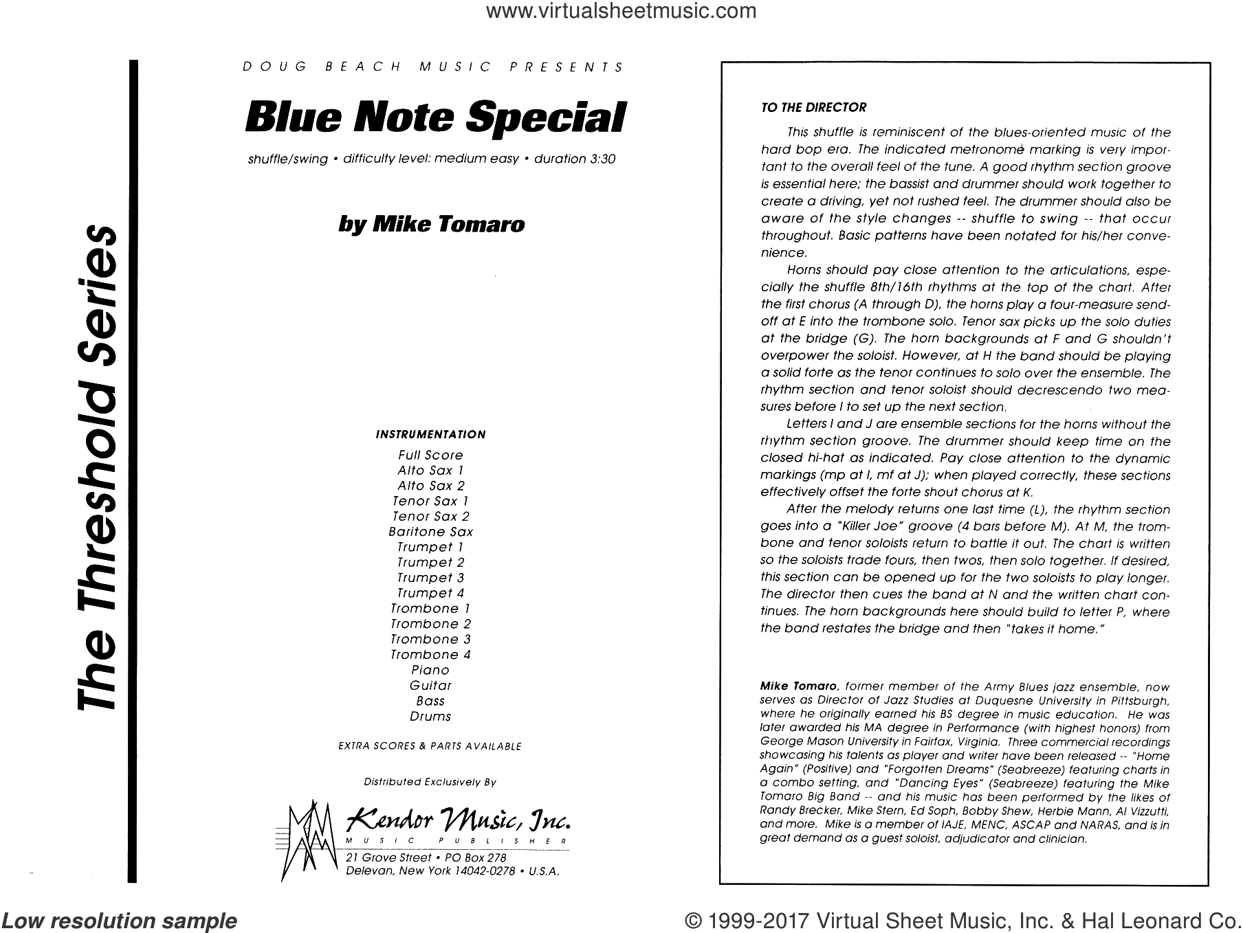 Blue Note Special (COMPLETE) sheet music for jazz band by Mike Tomaro, intermediate