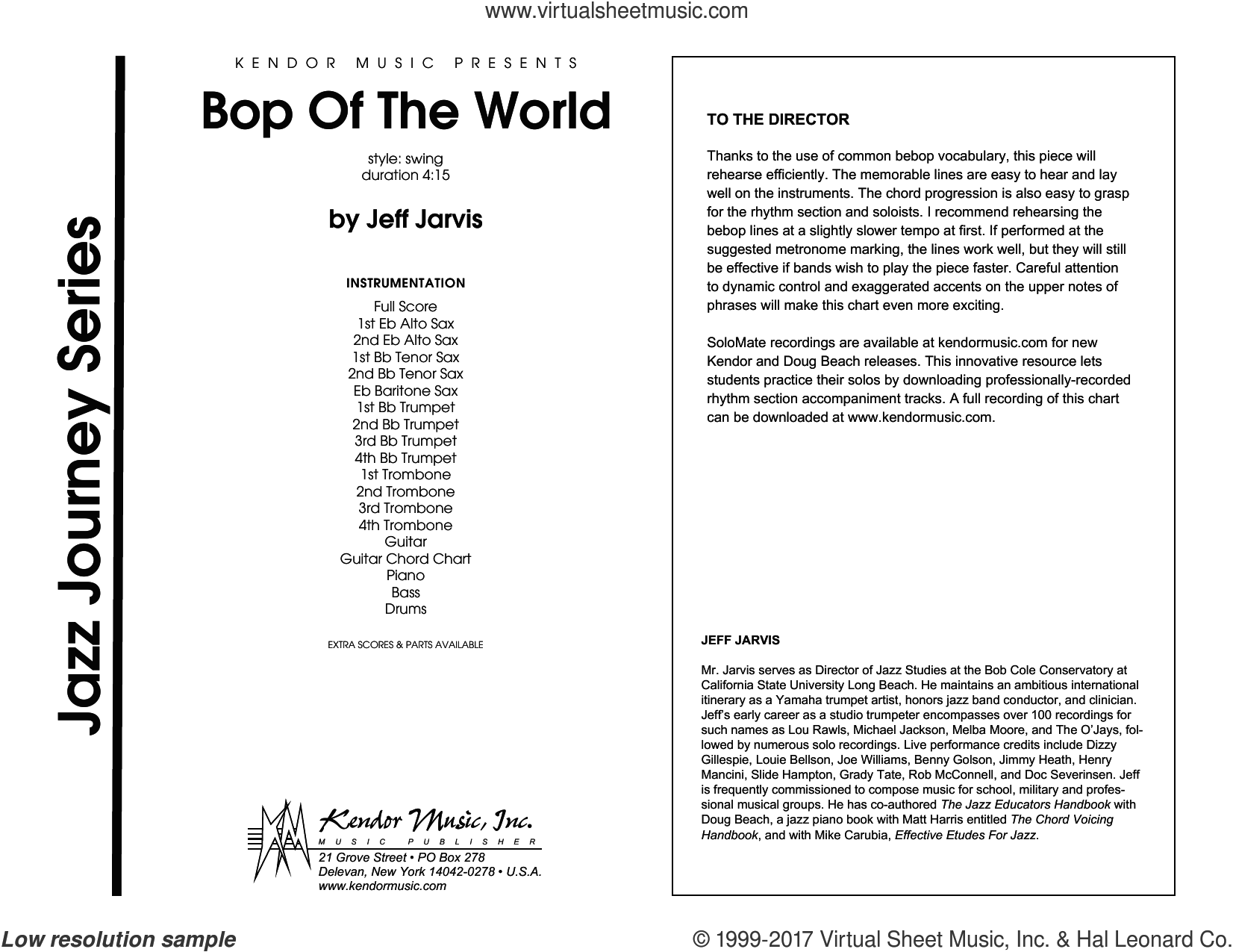 Bop Of The World (COMPLETE) sheet music for jazz band by Jeff Jarvis, intermediate jazz band. Score Image Preview.