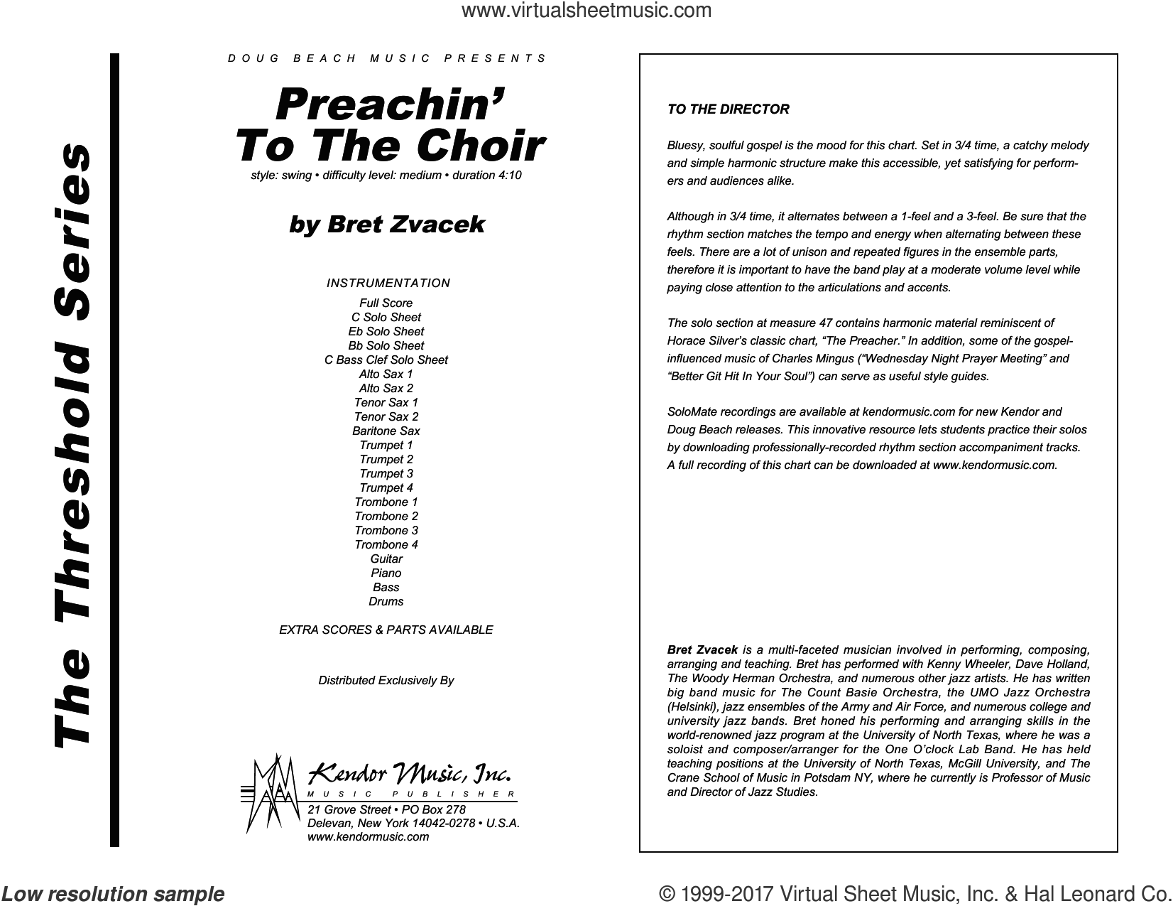 Preachin' To The Choir (COMPLETE) sheet music for jazz band by Bret Zvacek, intermediate. Score Image Preview.