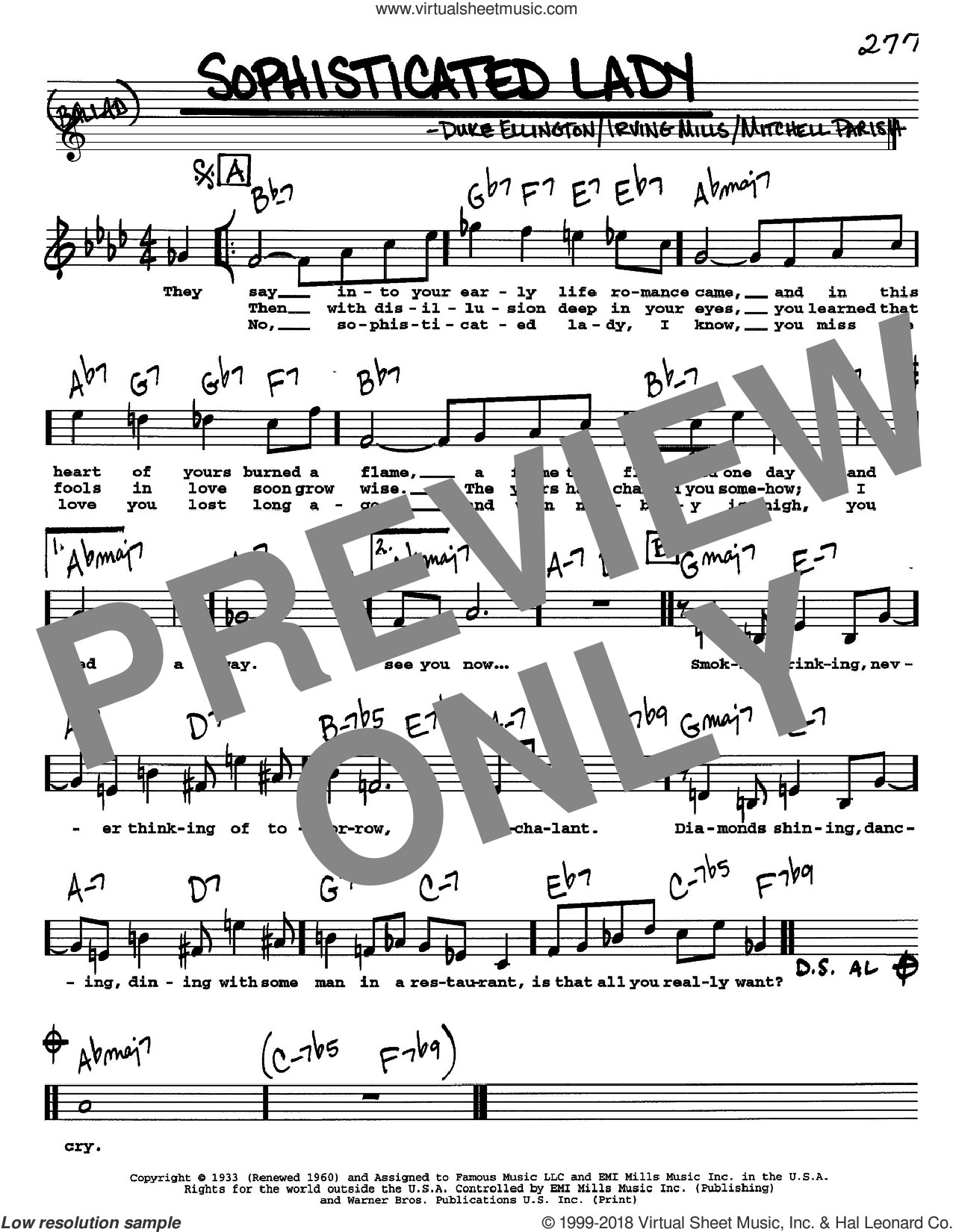 Sophisticated Lady sheet music for voice and other instruments (Vocal Volume 1) by Duke Ellington, Irving Mills and Mitchell Parish, intermediate voice. Score Image Preview.