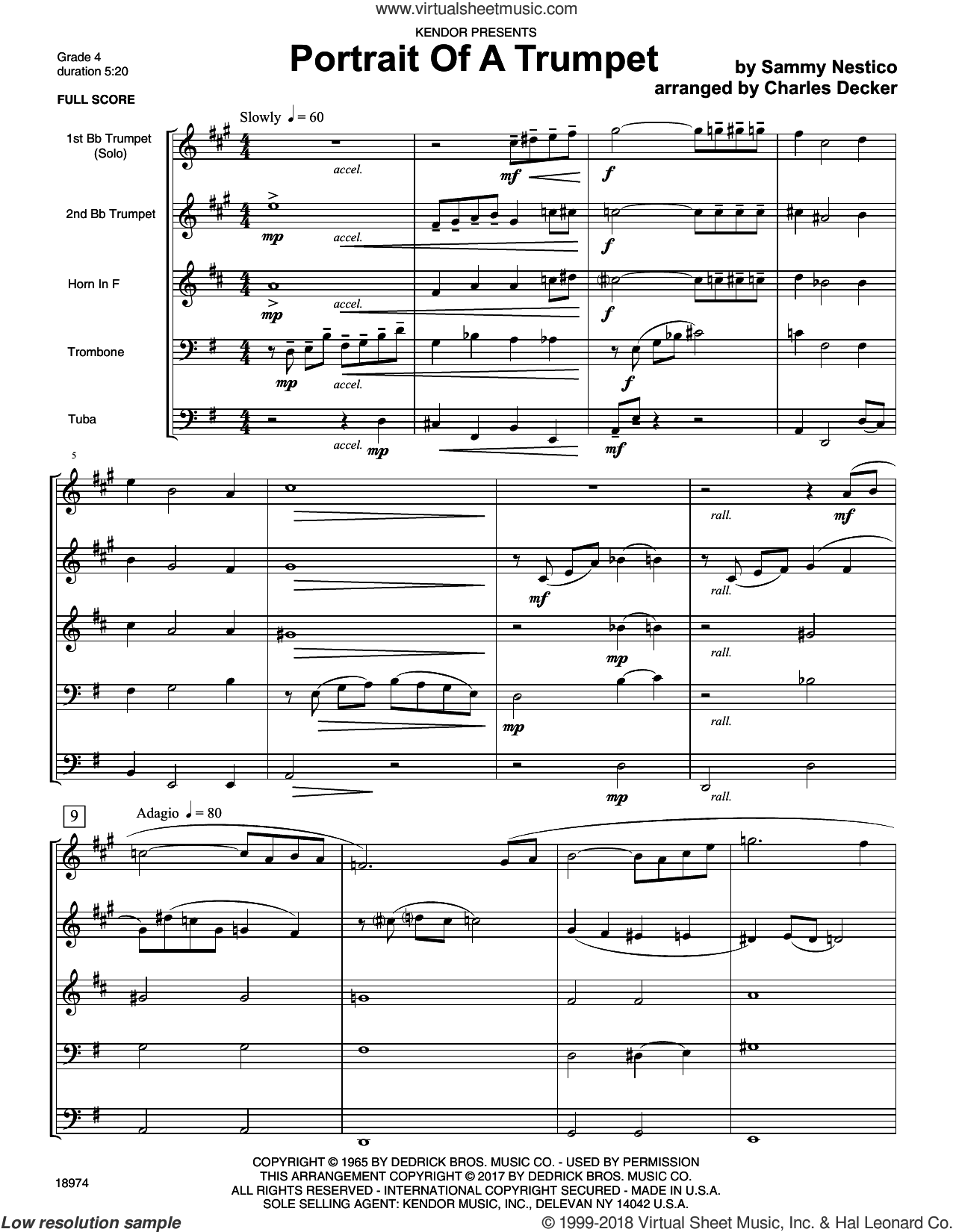 Portrait Of A Trumpet (COMPLETE) sheet music for brass quintet by Sammy Nestico, Charles Decker and Denis DiBlasio, intermediate. Score Image Preview.