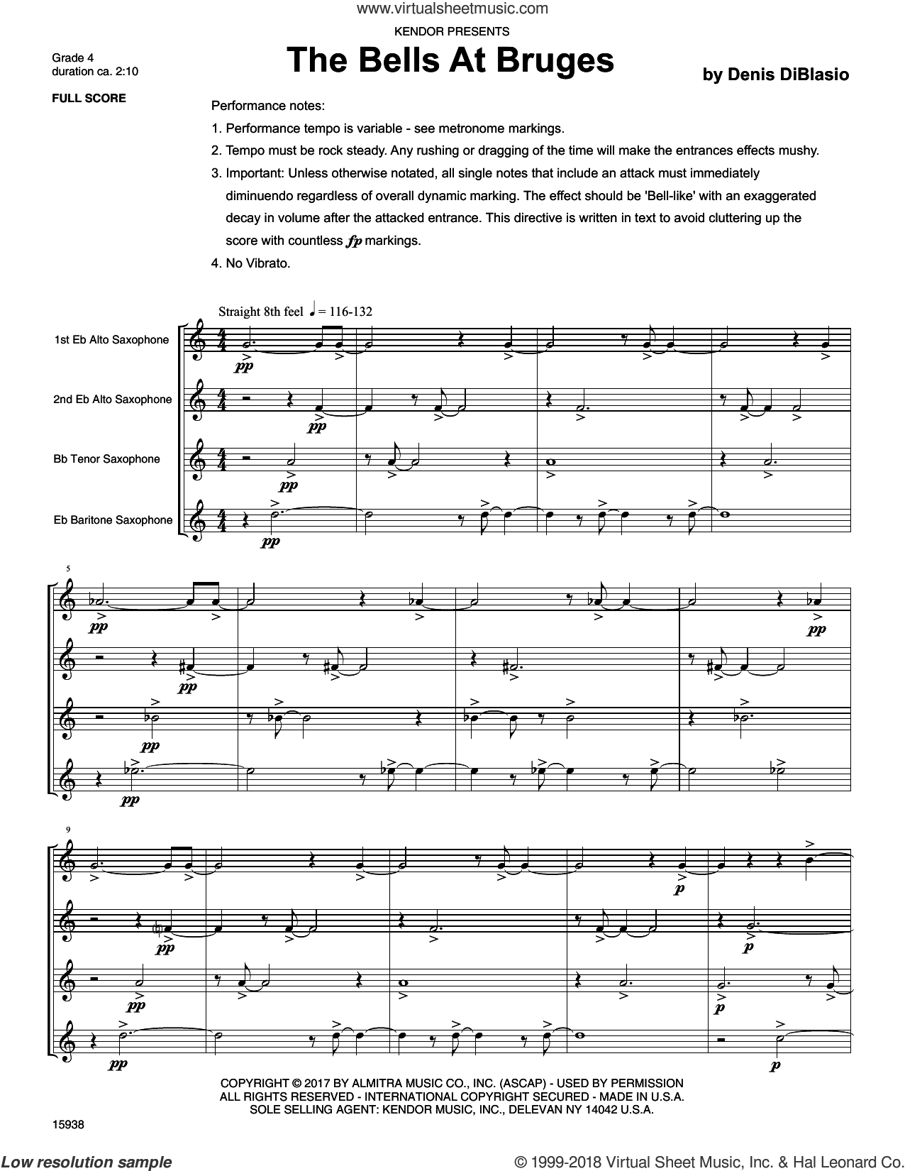 The Bells At Bruges (COMPLETE) sheet music for saxophone quartete by Denis DiBlasio, intermediate skill level