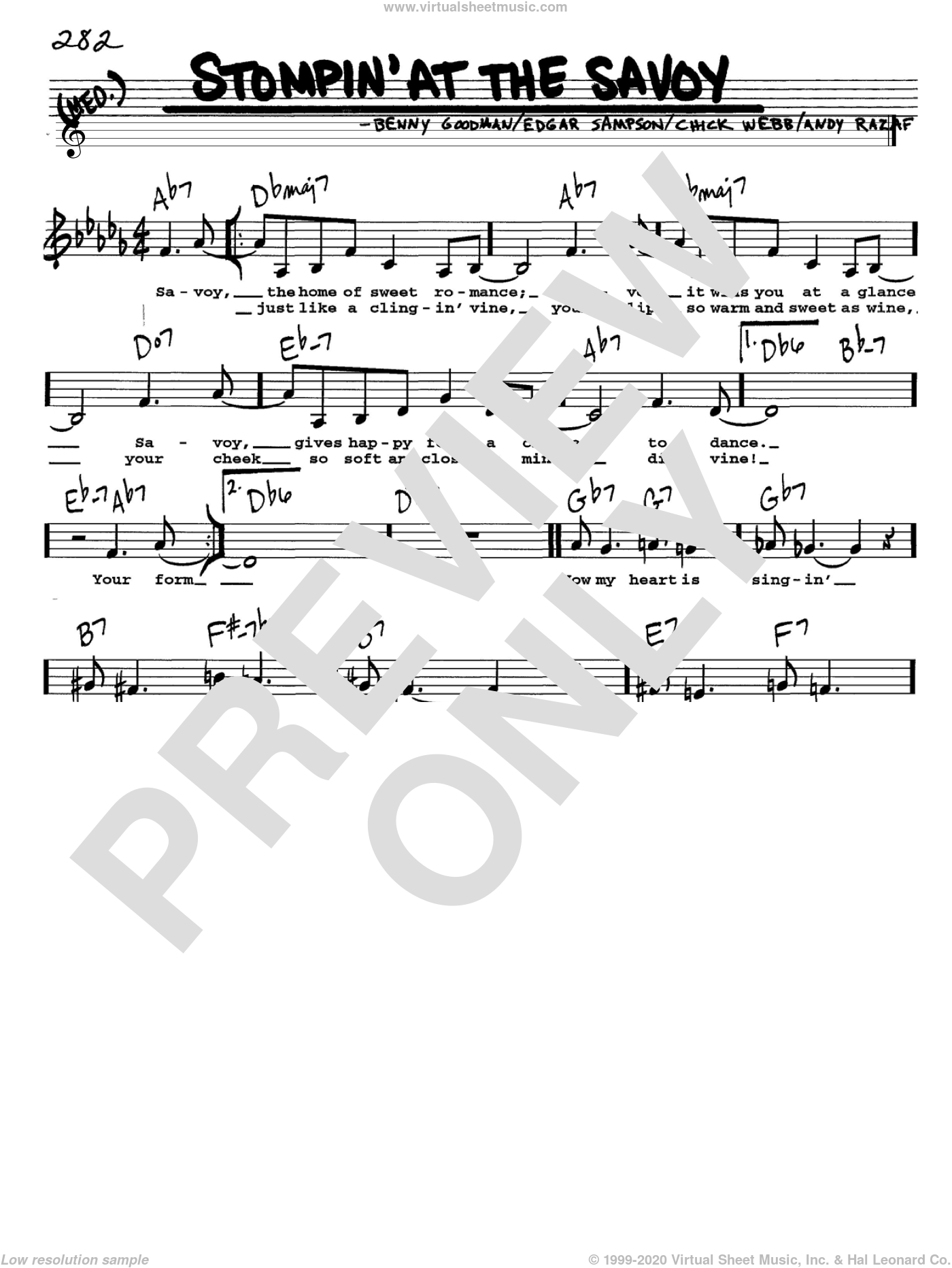 Stompin' At The Savoy sheet music for voice and other instruments (Vocal Volume 1) by Benny Goodman, Andy Razaf, Chick Webb and Edgar Sampson, intermediate voice. Score Image Preview.