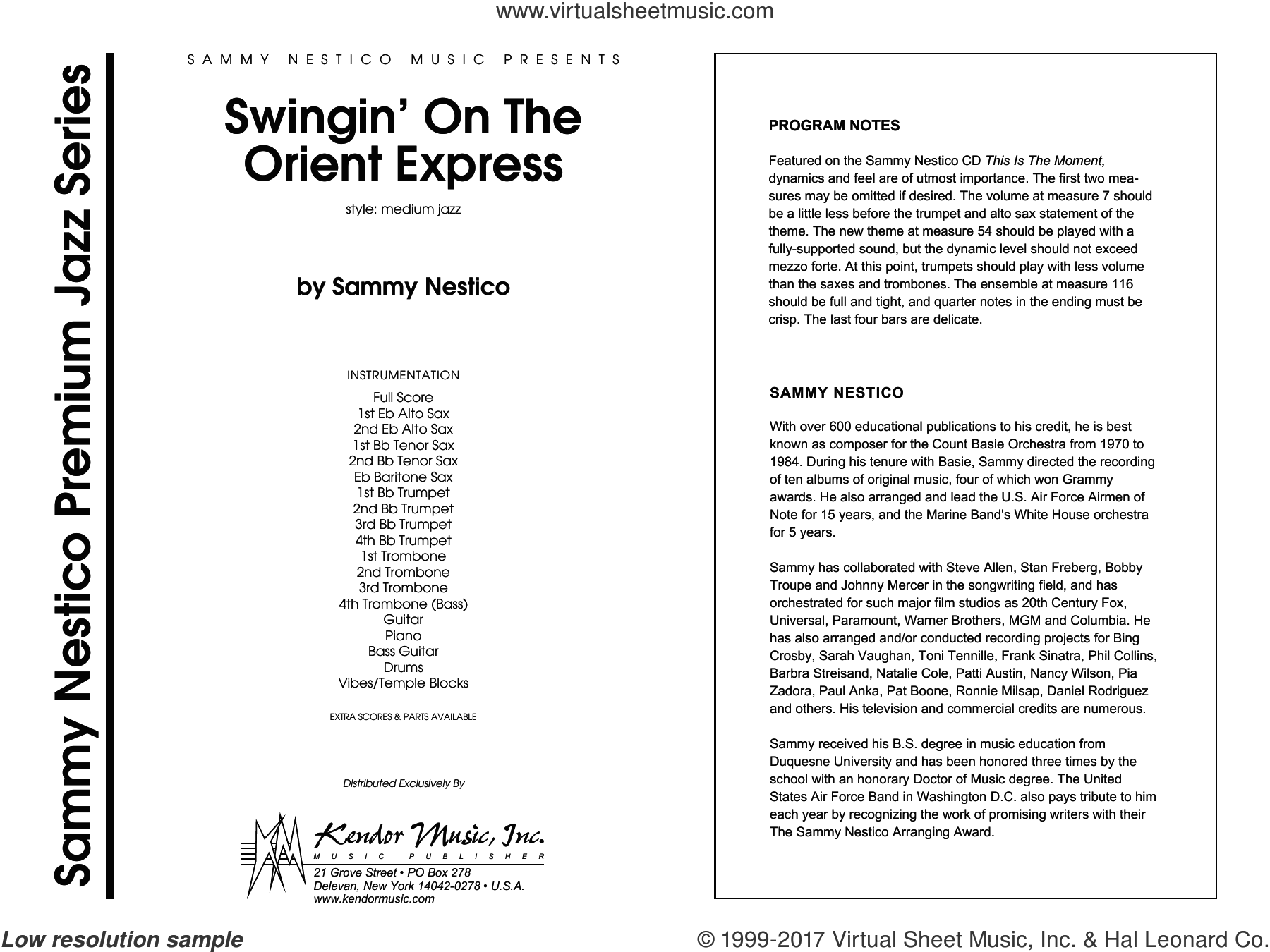 Swingin' On The Orient Express (COMPLETE) sheet music for jazz band by Sammy Nestico, intermediate skill level