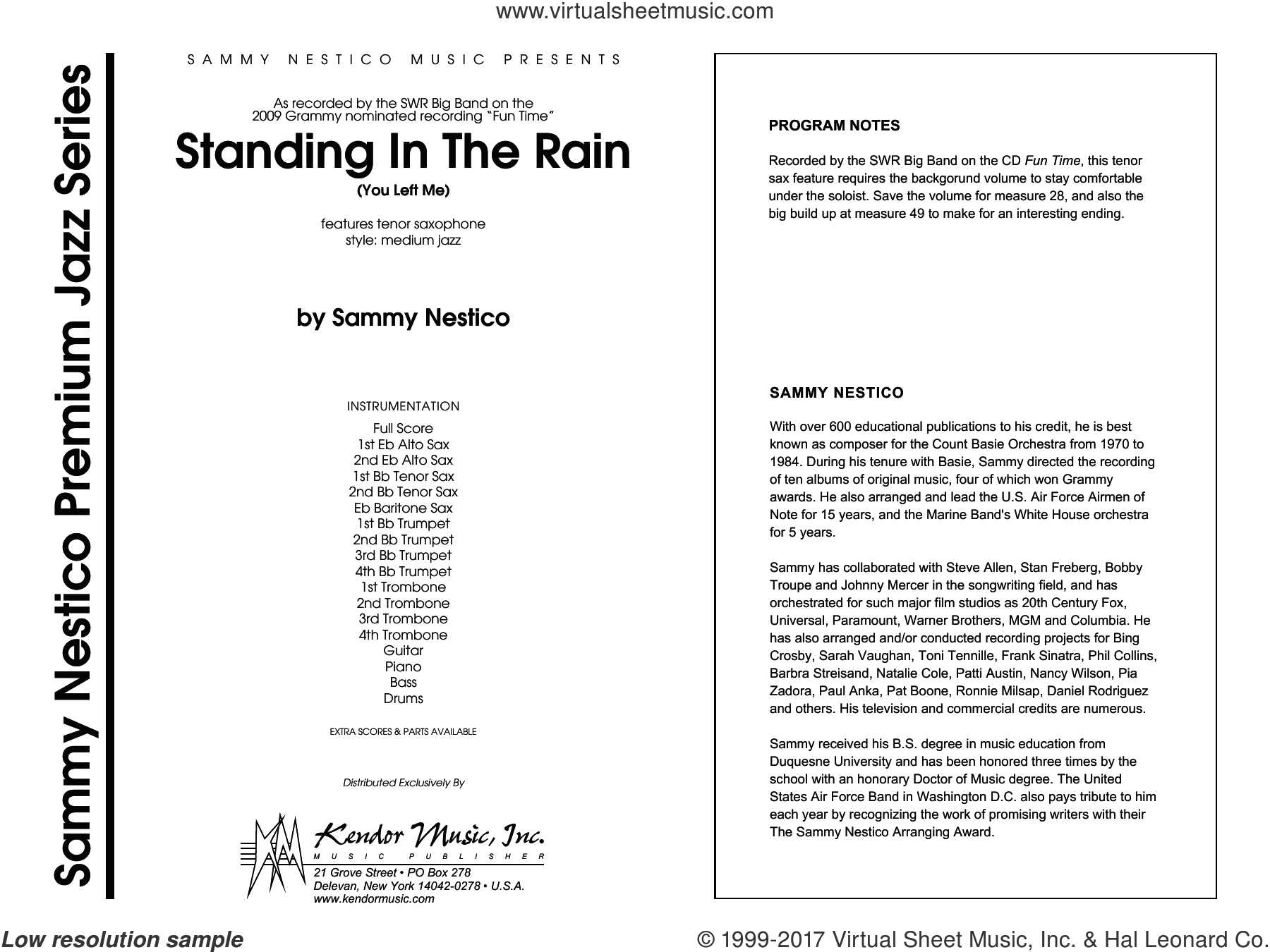 Standing In The Rain (You Left Me) (COMPLETE) sheet music for jazz band by Sammy Nestico, intermediate jazz band. Score Image Preview.