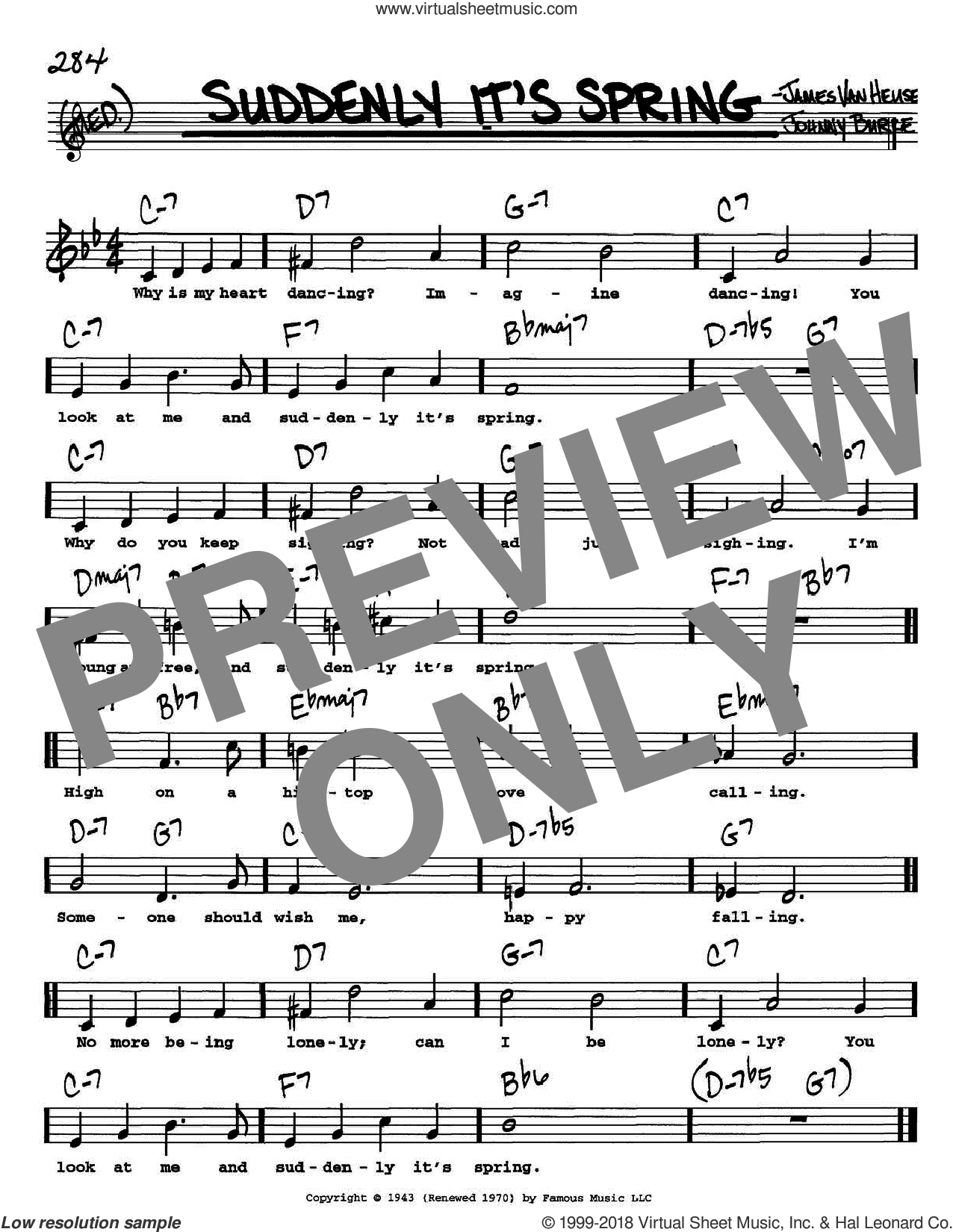 Suddenly It's Spring sheet music for voice and other instruments (Vocal Volume 1) by Jimmy van Heusen and John Burke. Score Image Preview.