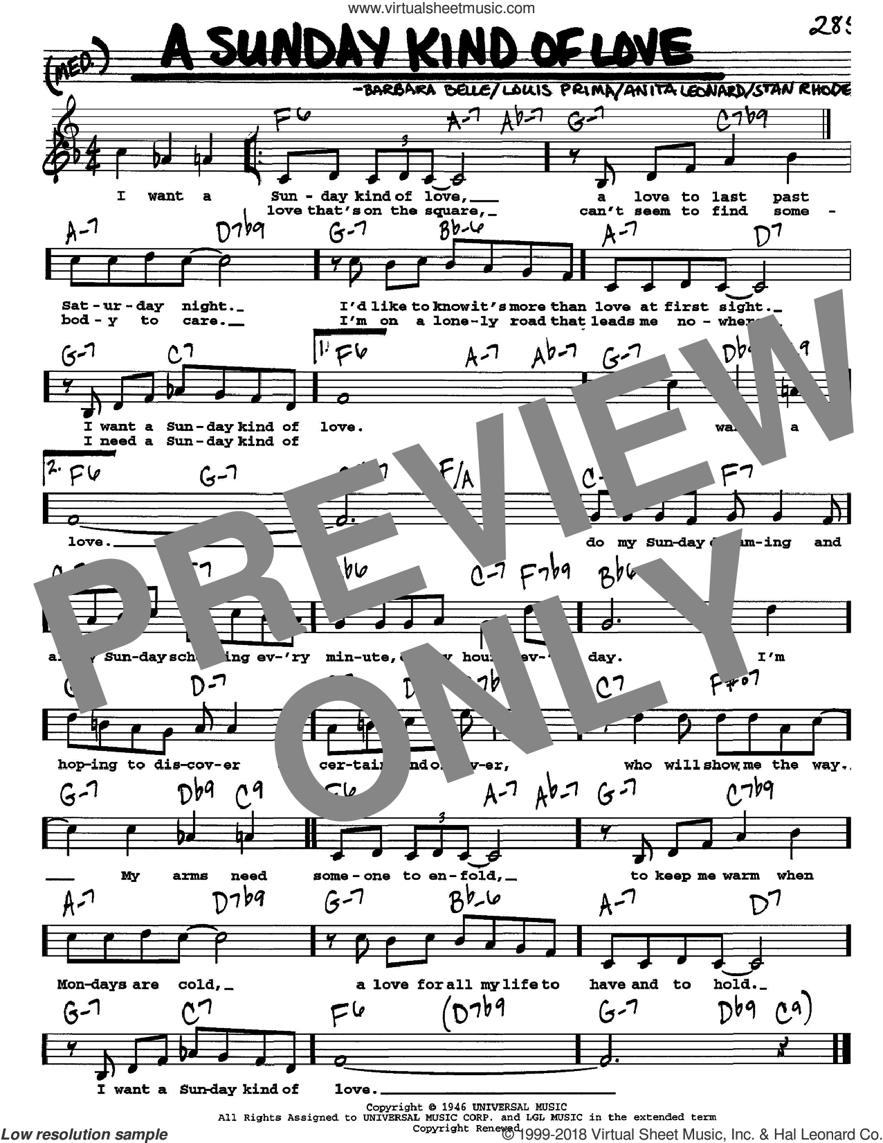 A Sunday Kind Of Love sheet music for voice and other instruments (Vocal Volume 1) by Stan Rhodes and Louis Prima. Score Image Preview.