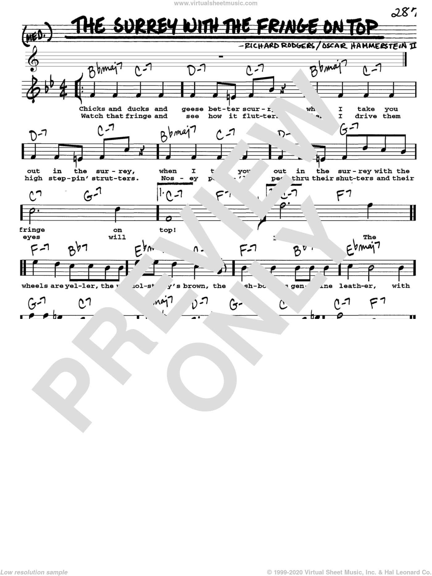 The Surrey With The Fringe On Top sheet music for voice and other instruments (Vocal Volume 1) by Richard Rodgers, Rodgers & Hammerstein and Oscar II Hammerstein. Score Image Preview.
