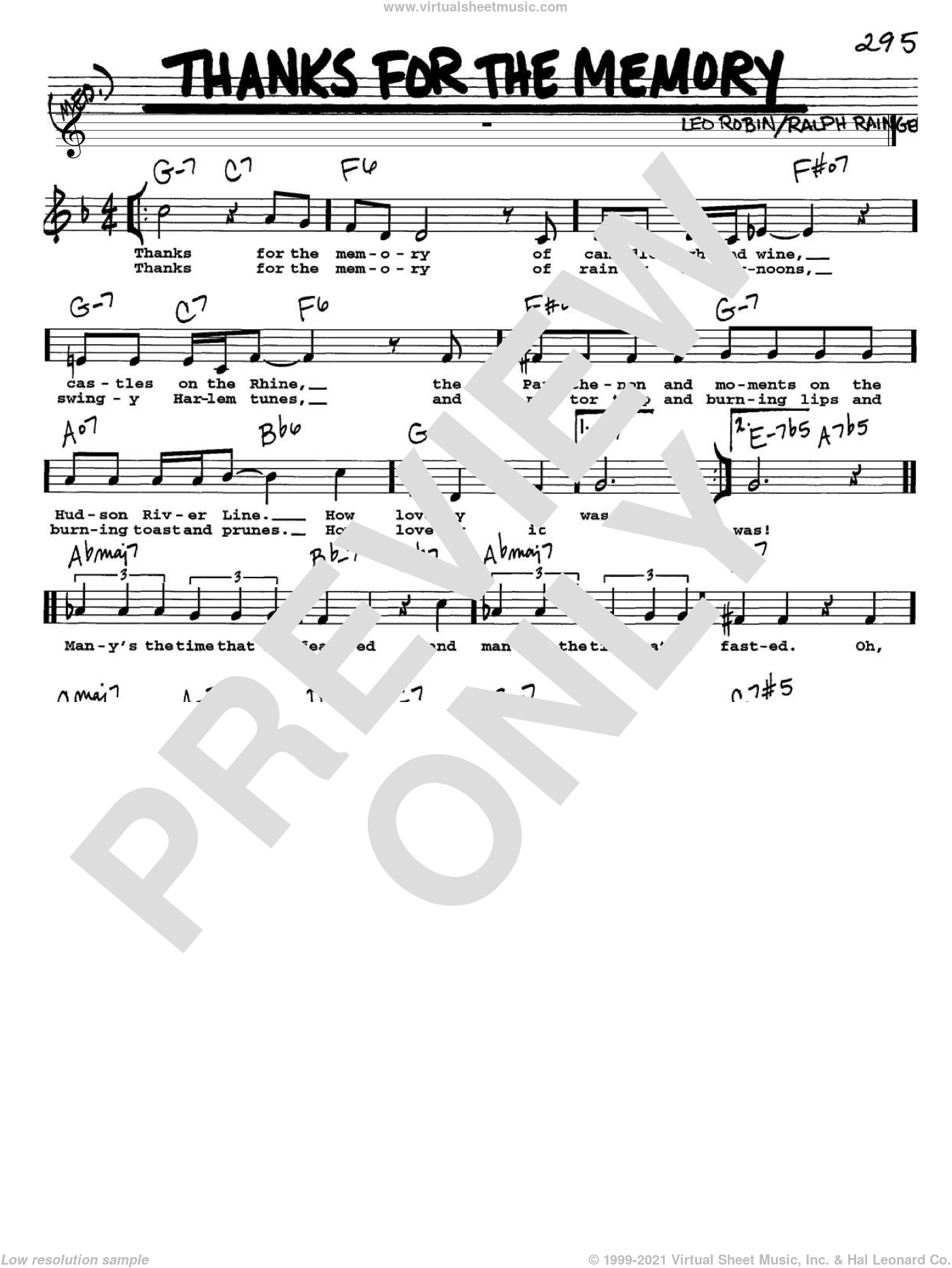 Thanks For The Memory sheet music for voice and other instruments (Vocal Volume 1) by Ralph Rainger, Mildred Bailey and Leo Robin. Score Image Preview.