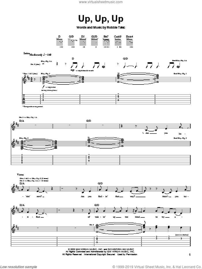 Up, Up, Up sheet music for guitar (tablature) by Robbie Takac. Score Image Preview.