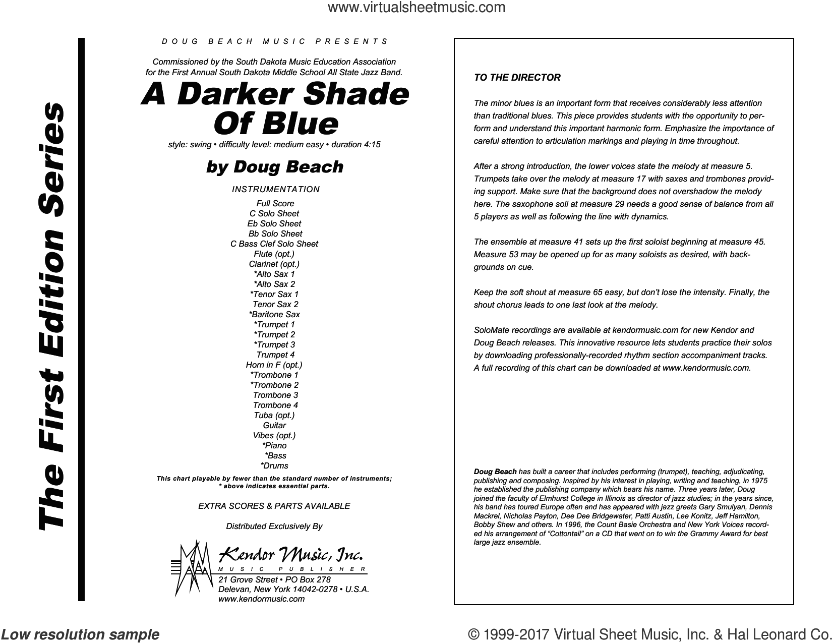 A Darker Shade Of Blue (COMPLETE) sheet music for jazz band by Doug Beach, intermediate skill level