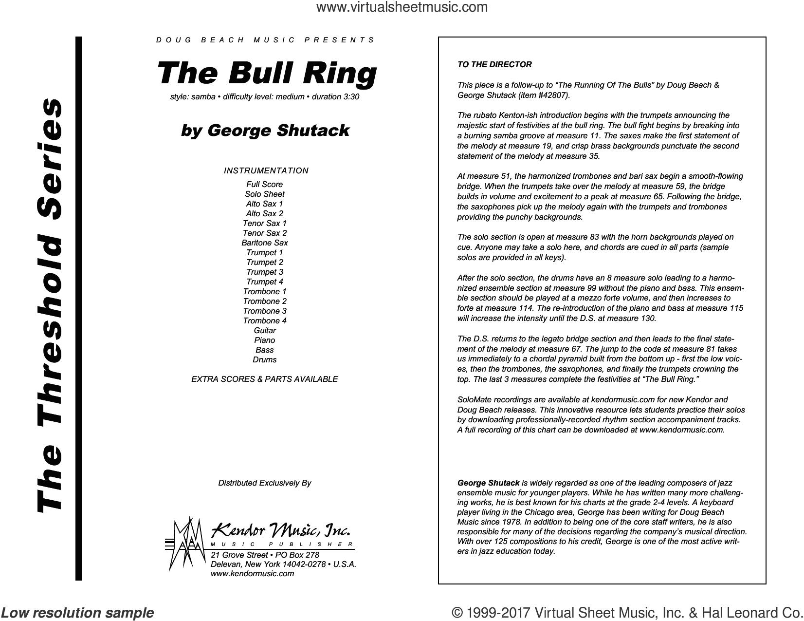 The Bull Ring (COMPLETE) sheet music for jazz band by George Shutack, intermediate