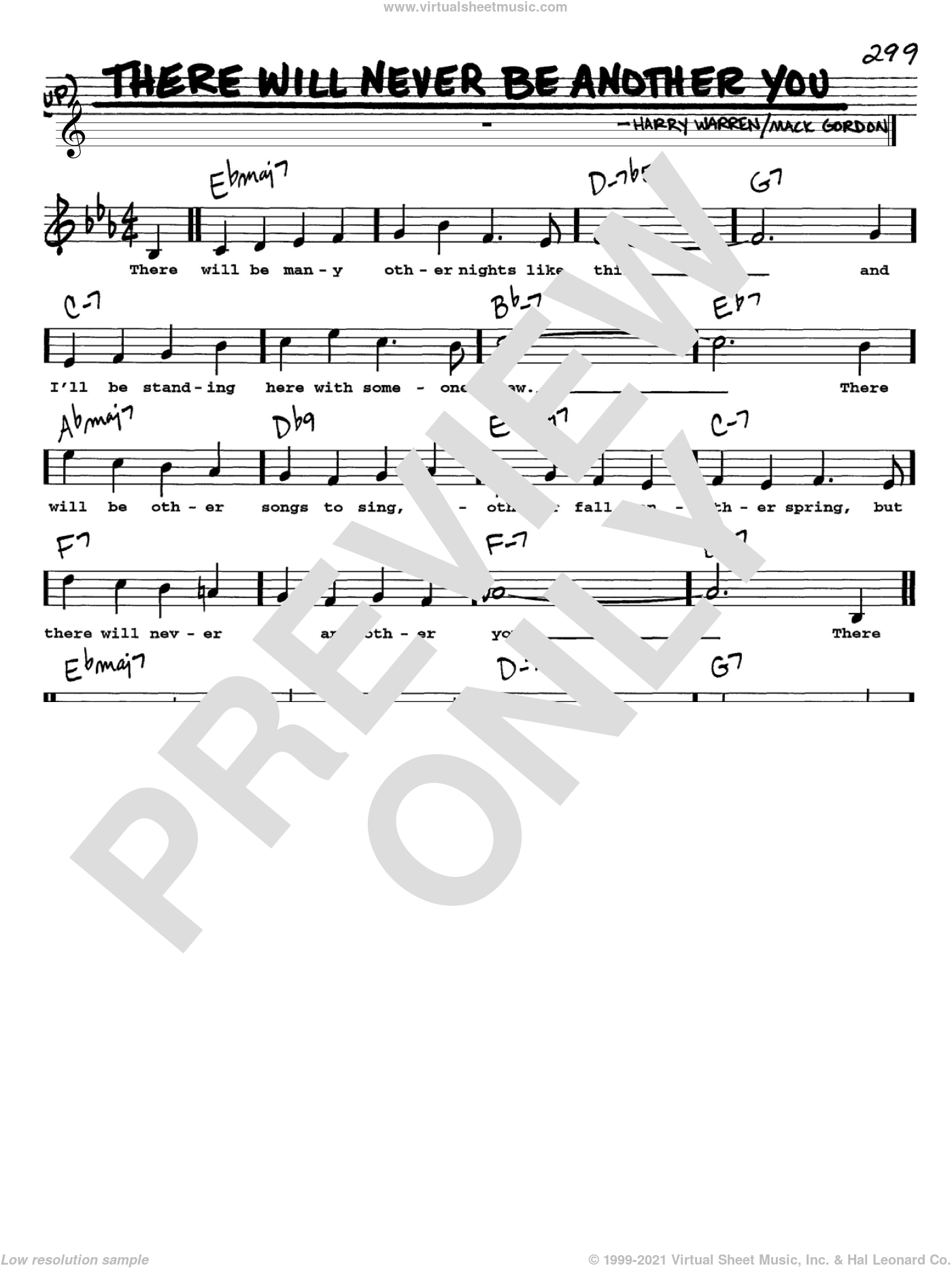 There Will Never Be Another You sheet music for voice and other instruments (Vocal Volume 1) by Harry Warren and Mack Gordon. Score Image Preview.