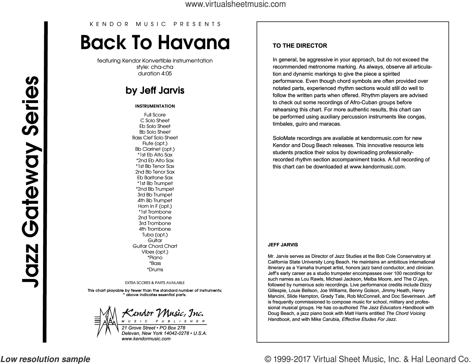 Jarvis - Back To Havana sheet music (complete collection) for jazz band