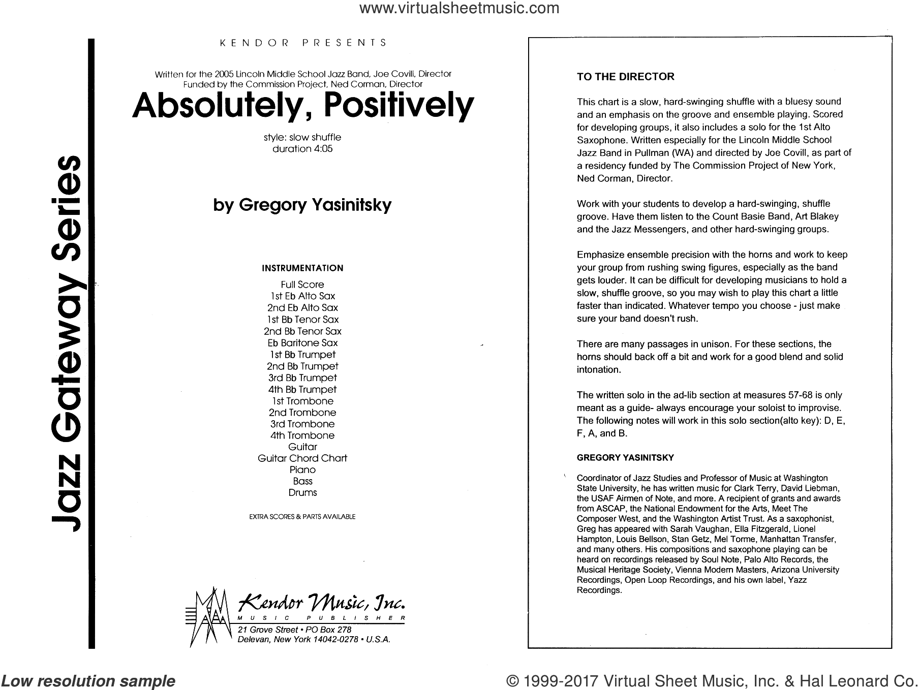 Absolutely, Positively (COMPLETE) sheet music for jazz band by Gregory Yasinitsky, intermediate