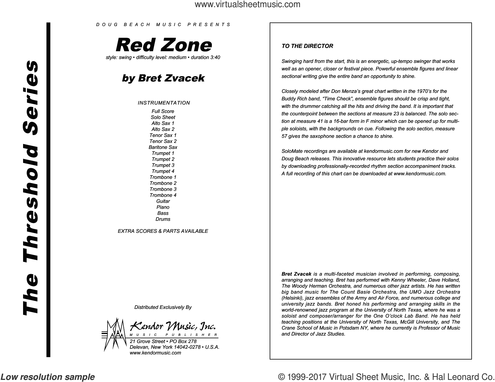 Red Zone (COMPLETE) sheet music for jazz band by Bret Zvacek, intermediate jazz band. Score Image Preview.