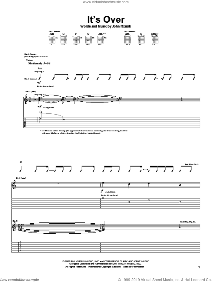It's Over sheet music for guitar (tablature) by John Rzeznik. Score Image Preview.