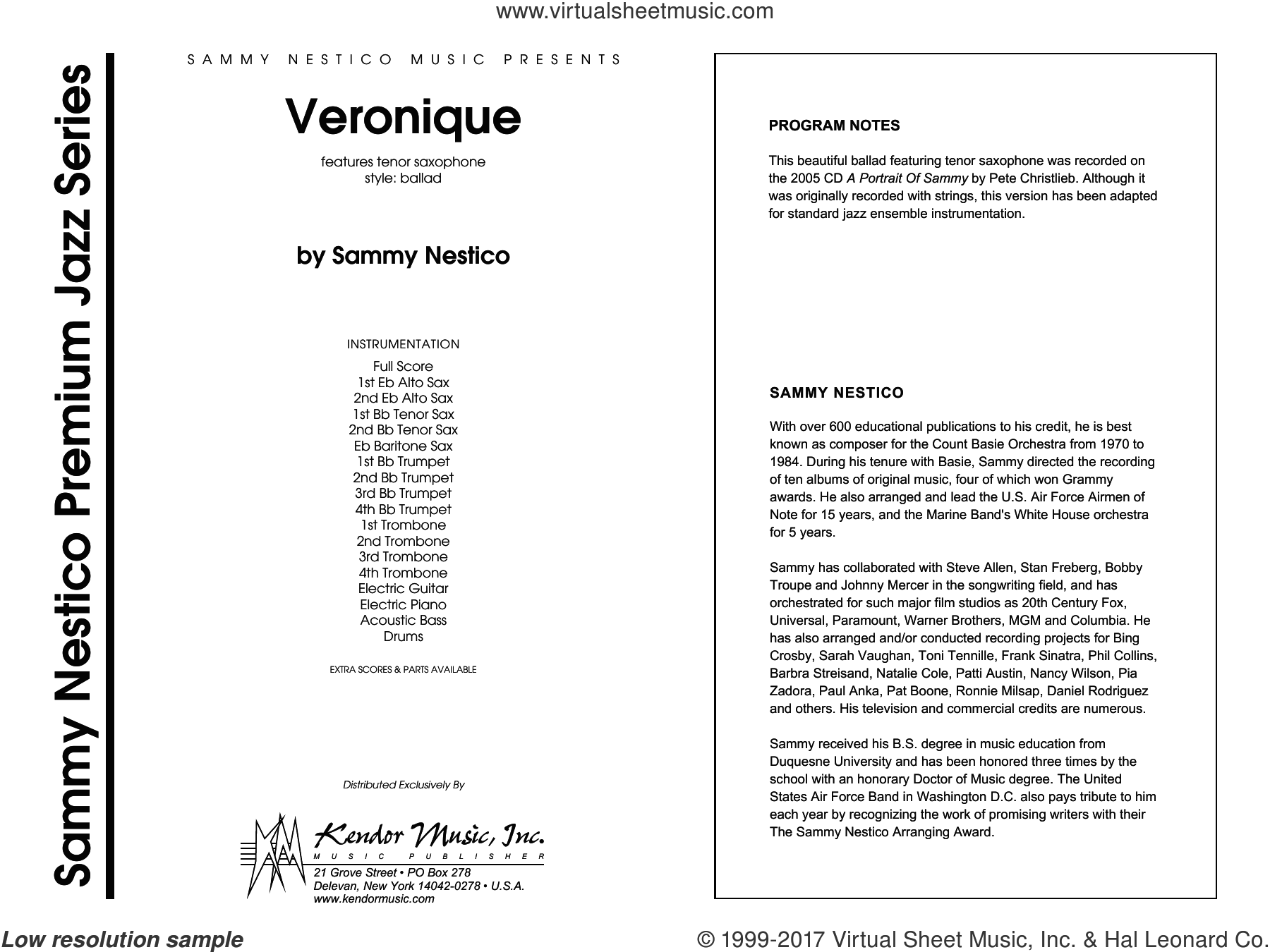 Veronique (COMPLETE) sheet music for jazz band by Sammy Nestico, intermediate. Score Image Preview.