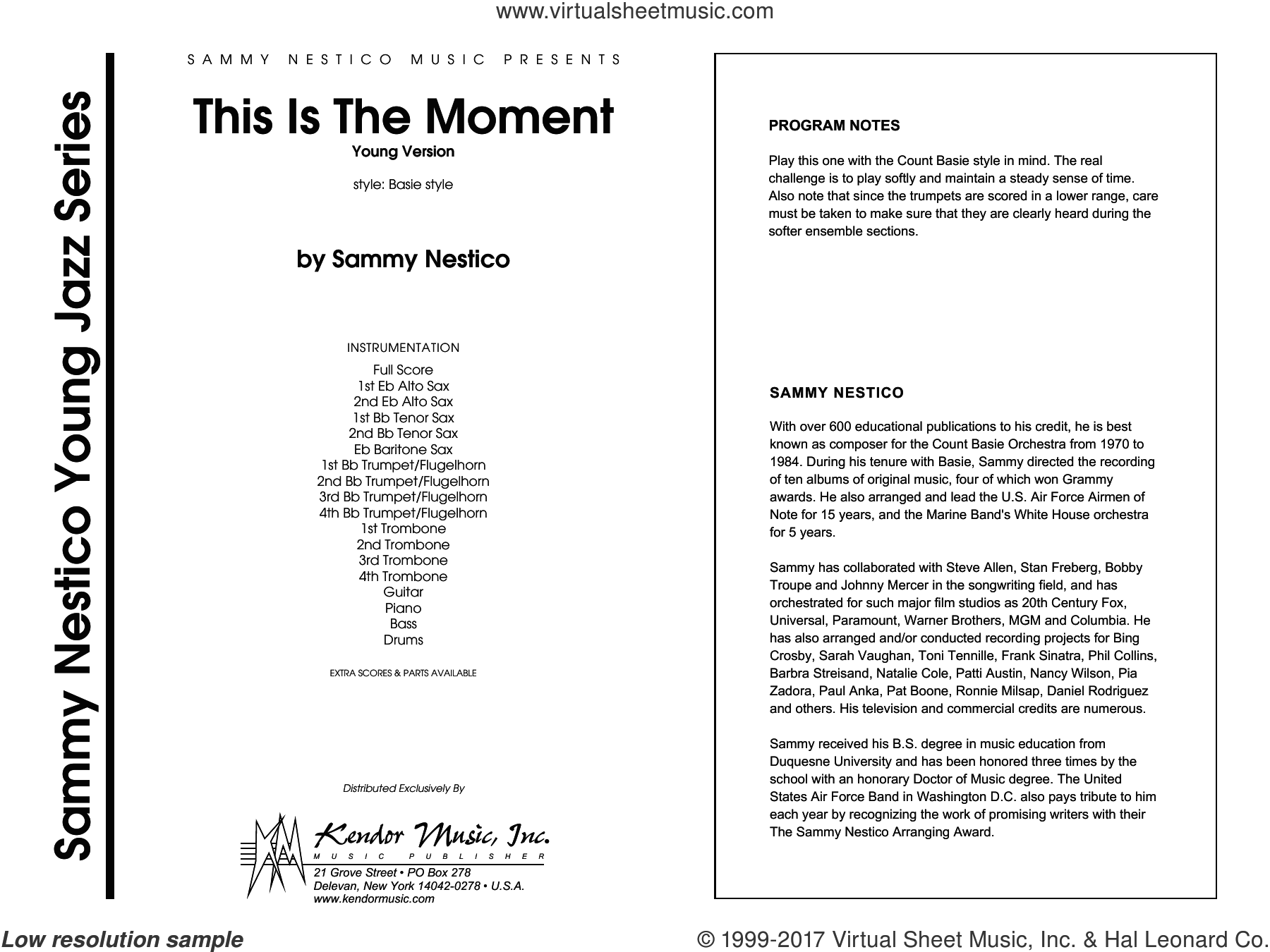 This Is The Moment (Professional Edition) (COMPLETE) sheet music for jazz band by Sammy Nestico, intermediate jazz band. Score Image Preview.