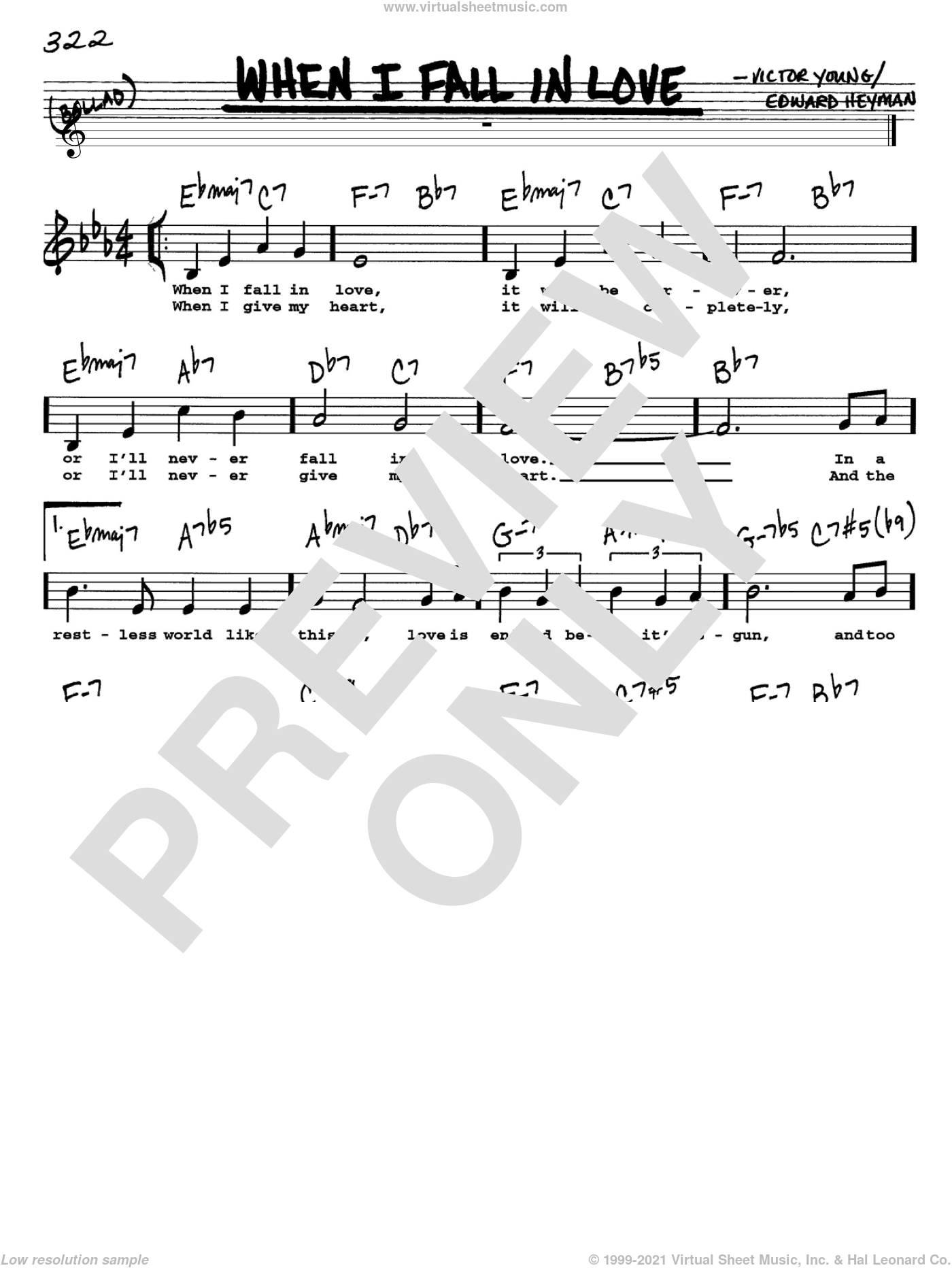 When I Fall In Love sheet music for voice and other instruments  by Victor Young and Edward Heyman, intermediate skill level