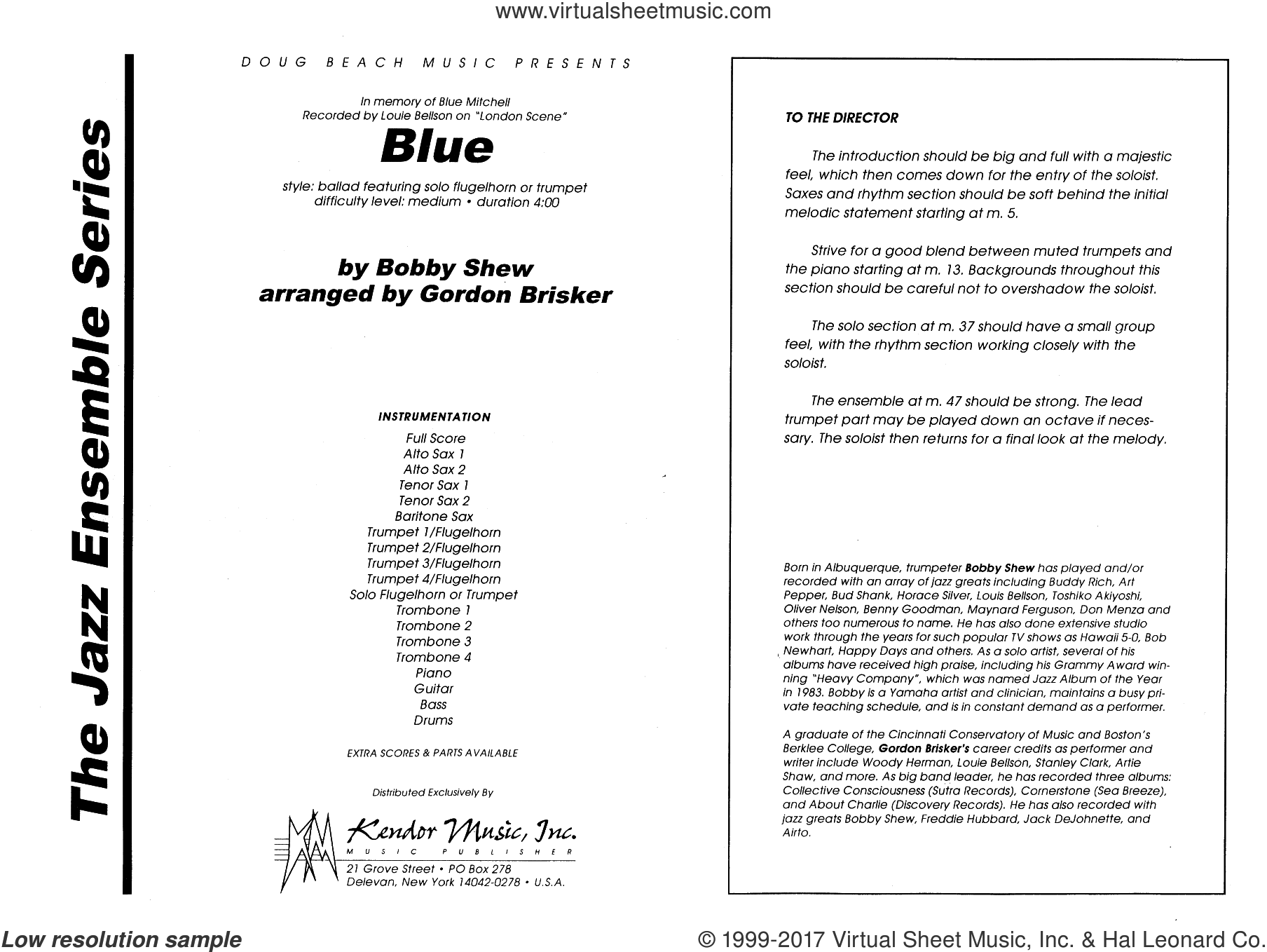 Shew - Blue sheet music (complete collection) for jazz band [PDF]