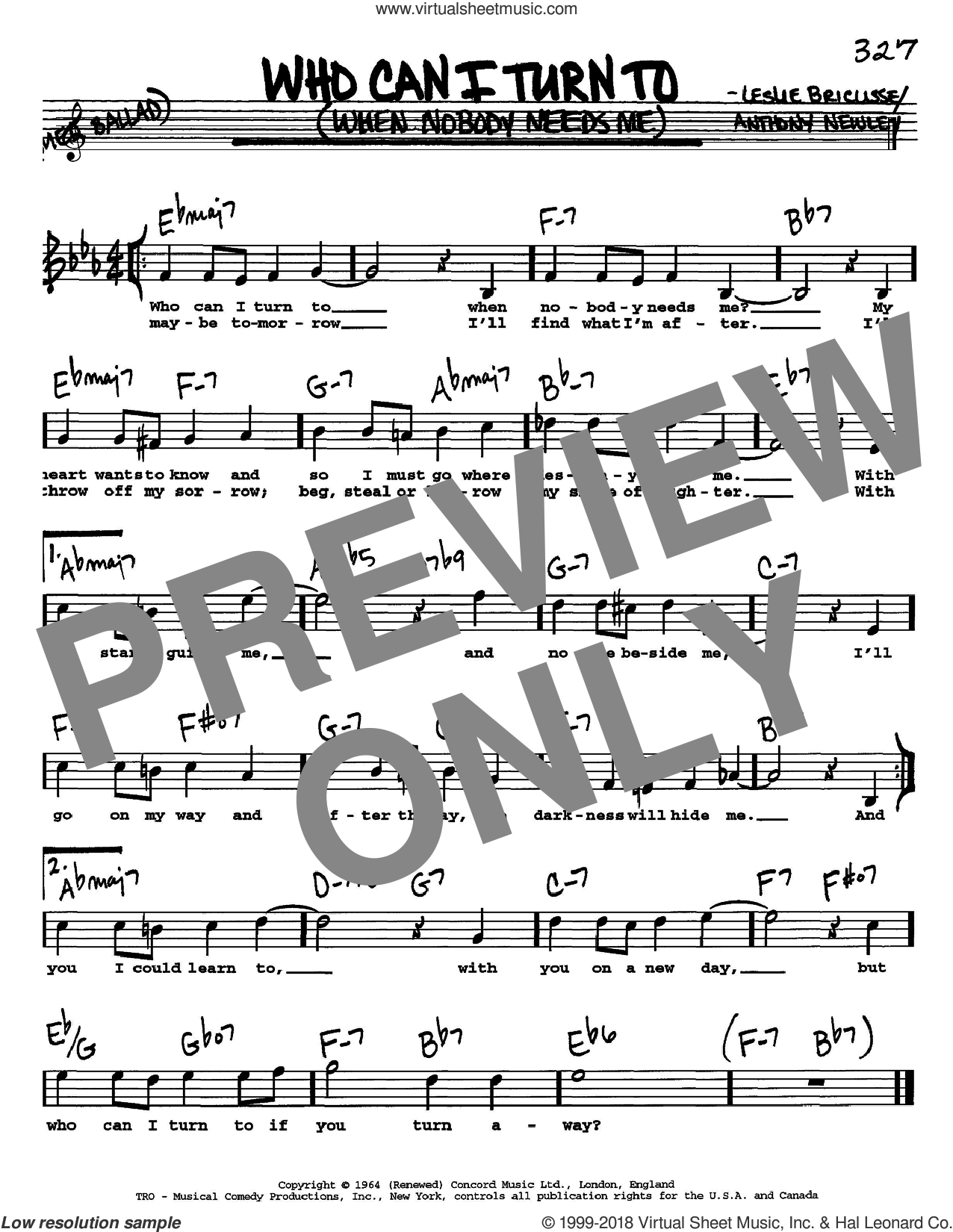 Who Can I Turn To (When Nobody Needs Me) sheet music for voice and other instruments (Vocal Volume 1) by Leslie Bricusse, Tony Bennett and Anthony Newley. Score Image Preview.