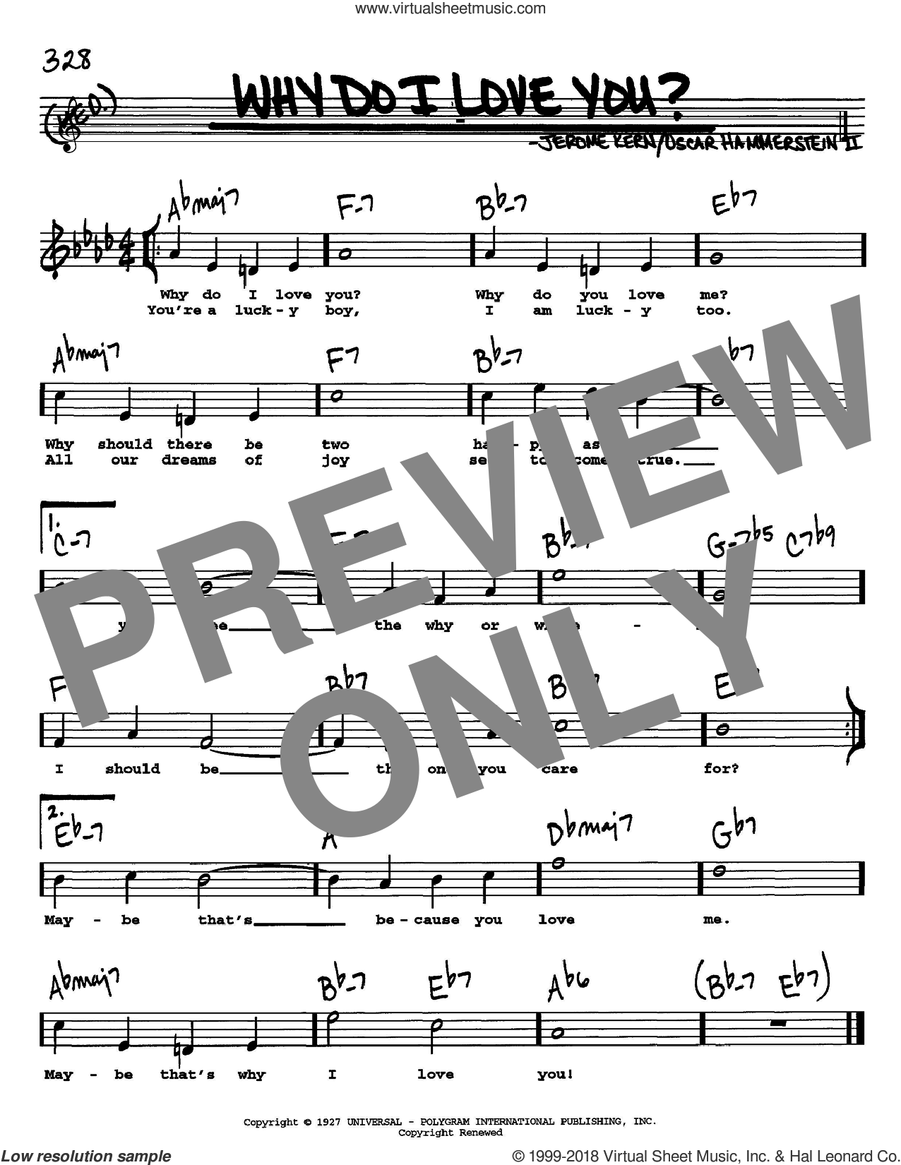 Why Do I Love You? sheet music for voice and other instruments  by Jerome Kern and Oscar II Hammerstein, intermediate skill level