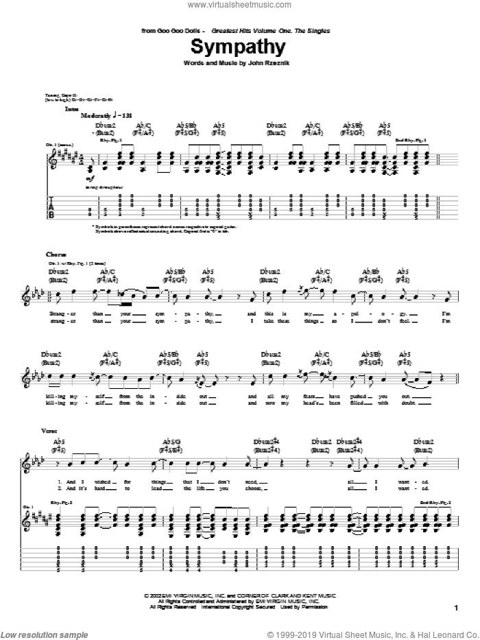 Sympathy sheet music for guitar (tablature) by John Rzeznik. Score Image Preview.