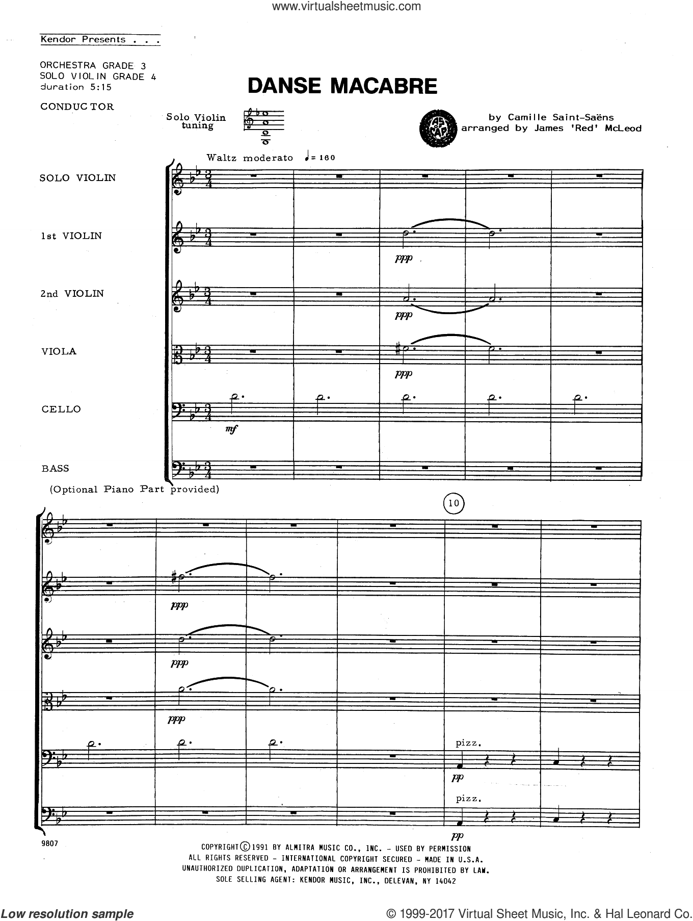 Danse Macabre (COMPLETE) sheet music for orchestra by Camille Saint-Saens and James 'Red' McLeod, classical score, intermediate skill level