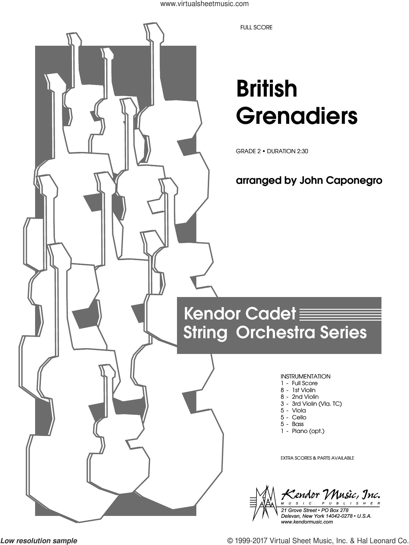 British Grenadiers (COMPLETE) sheet music for orchestra by John Caponegro, intermediate orchestra. Score Image Preview.