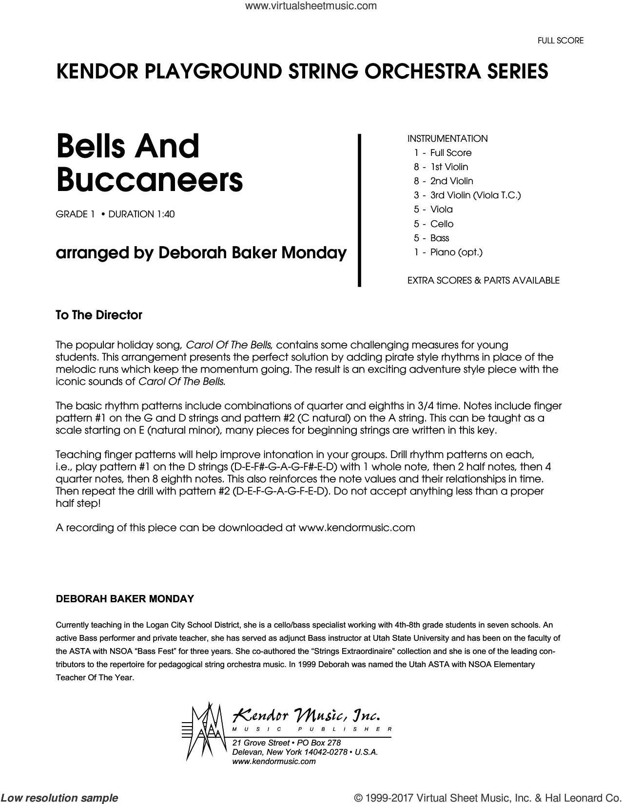 Bells And Buccaneers (COMPLETE) sheet music for orchestra by Deborah Baker Monday and Miscellaneous, classical score, intermediate skill level
