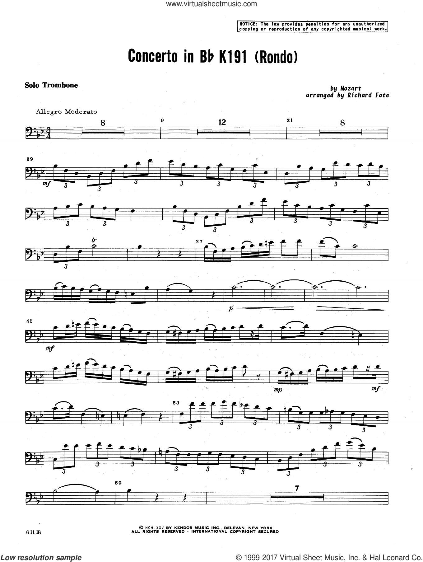Concerto In Bb K 191 (Rondo) (complete set of parts) sheet music for trombone and piano by Wolfgang Amadeus Mozart and Richard Fote, classical score, intermediate
