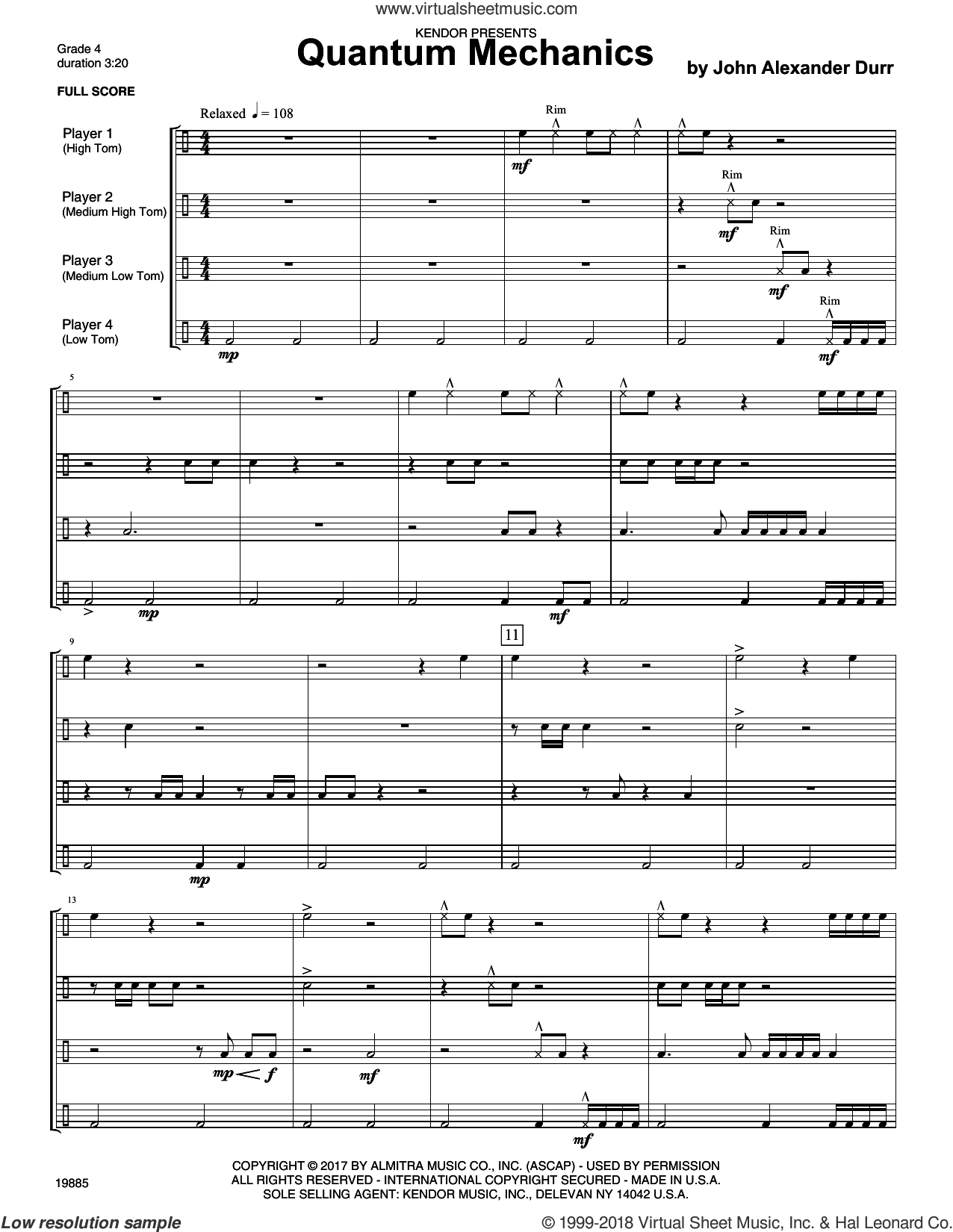 Quantum Mechanics (COMPLETE) sheet music for percussions by John Alexander Durr, intermediate percussions. Score Image Preview.