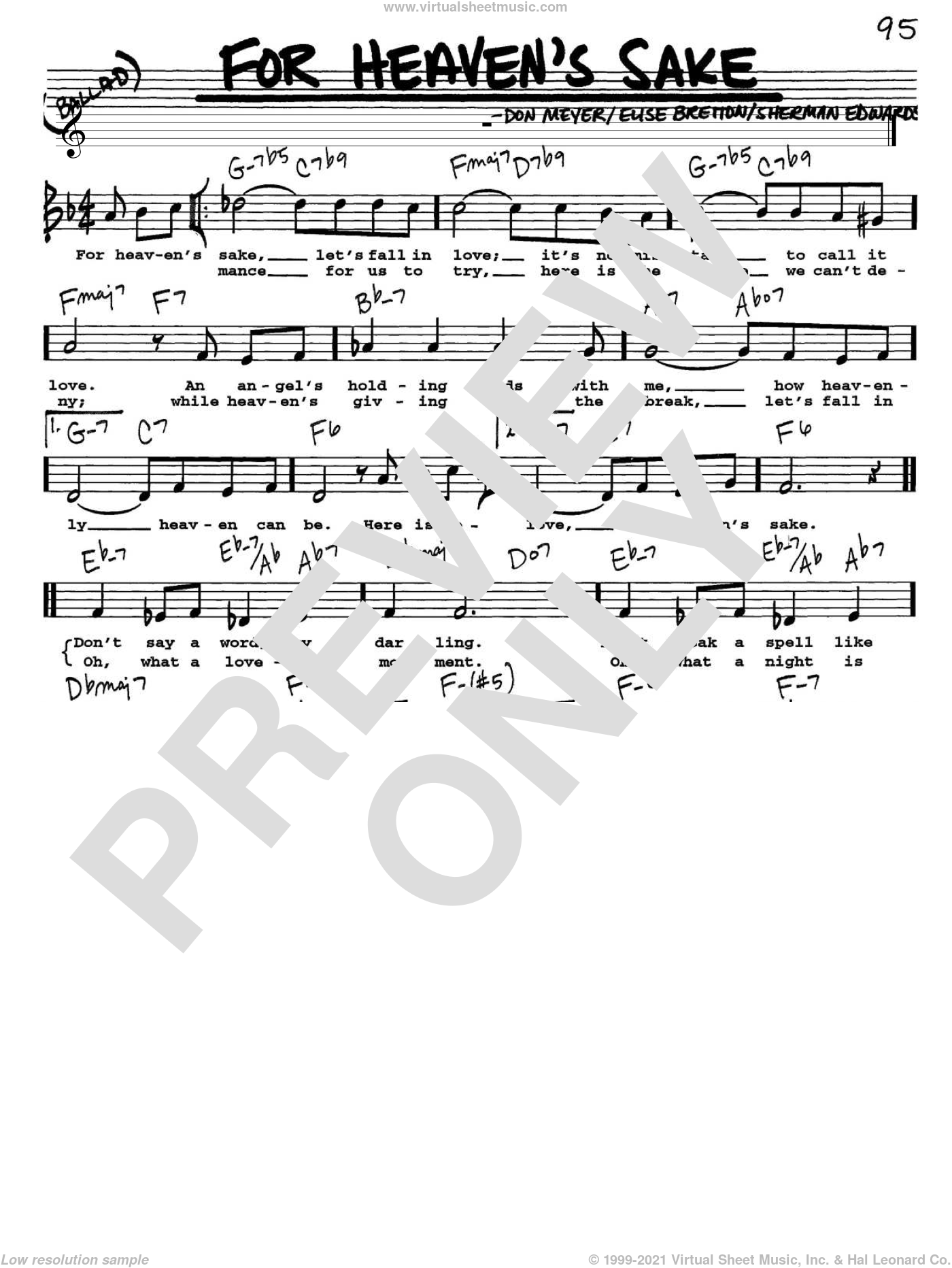 For Heaven's Sake sheet music for voice and other instruments  by Bill Evans, Don Meyer, Elise Bretton and Sherman Edwards, intermediate skill level