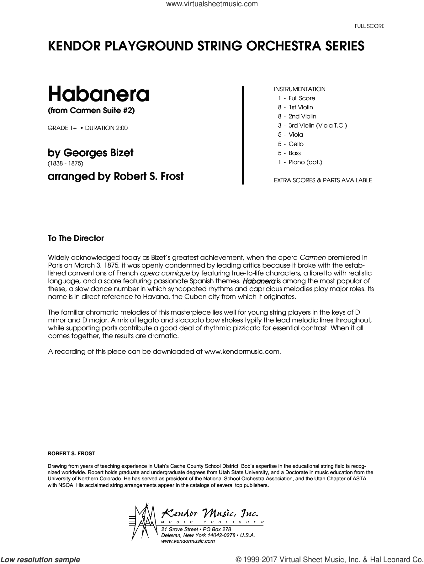 Habanera (from Carmen Suite #2) (COMPLETE) sheet music for orchestra by Georges Bizet and Robert S. Frost, classical score, intermediate skill level
