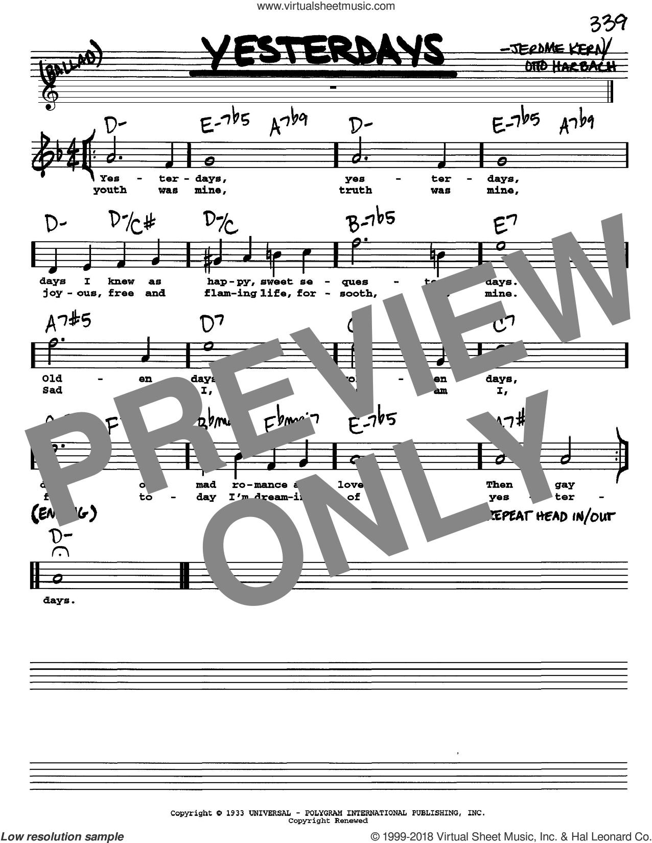 Yesterdays sheet music for voice and other instruments  by Jerome Kern and Otto Harbach, intermediate skill level