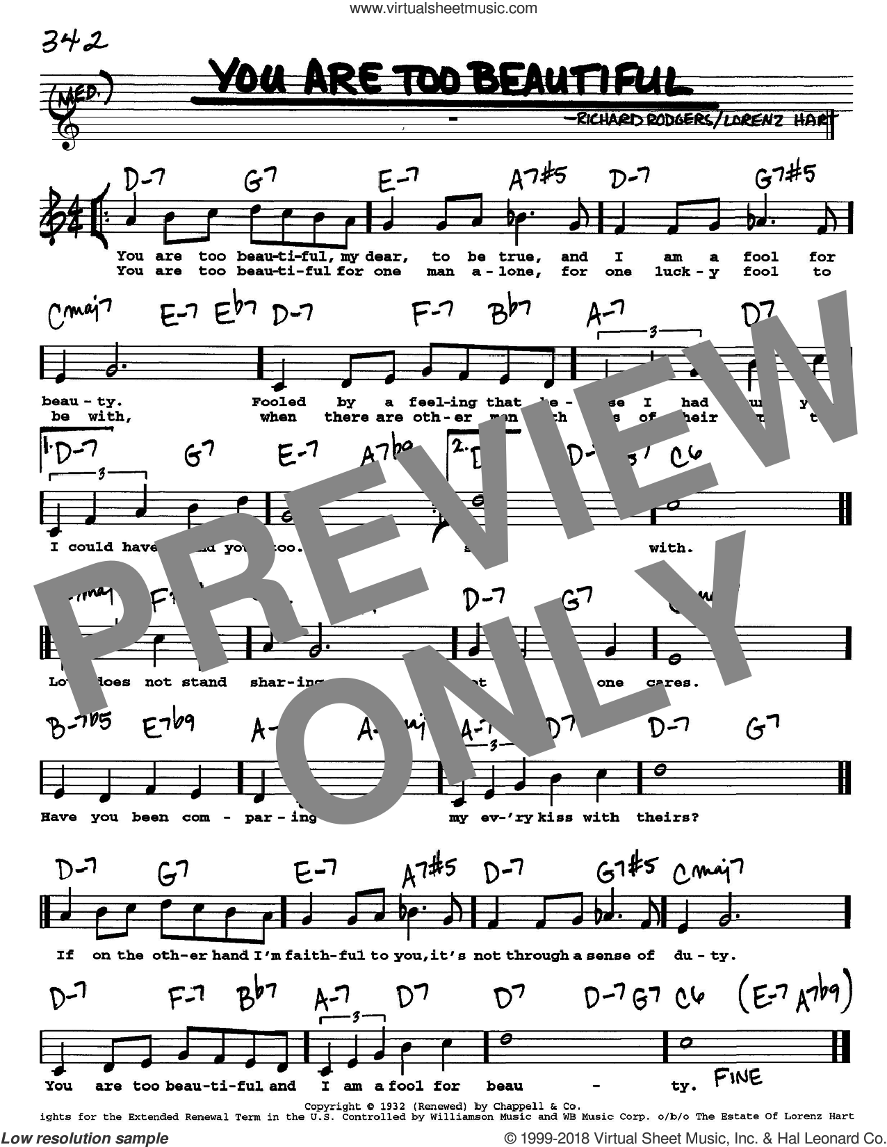 You Are Too Beautiful sheet music for voice and other instruments  by Rodgers & Hart, Lorenz Hart and Richard Rodgers, intermediate skill level