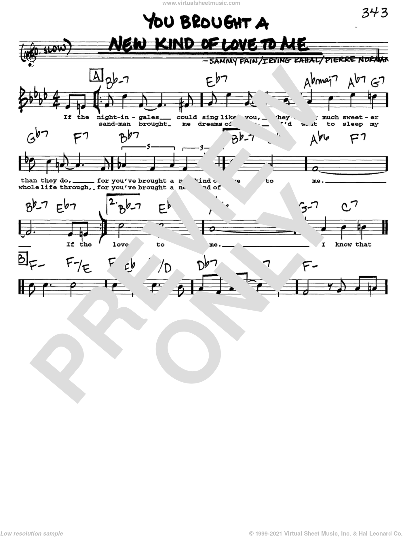 You Brought A New Kind Of Love To Me sheet music for voice and other instruments (Vocal Volume 1) by Sammy Fain, Frank Sinatra, Irving Kahal and Pierre Norman. Score Image Preview.
